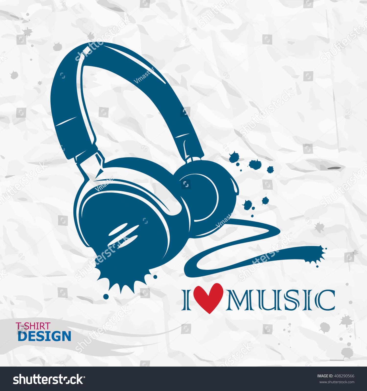 Shirt design equipment - Design Element For T Shirt Print Vector Illustration Earphone Music Style