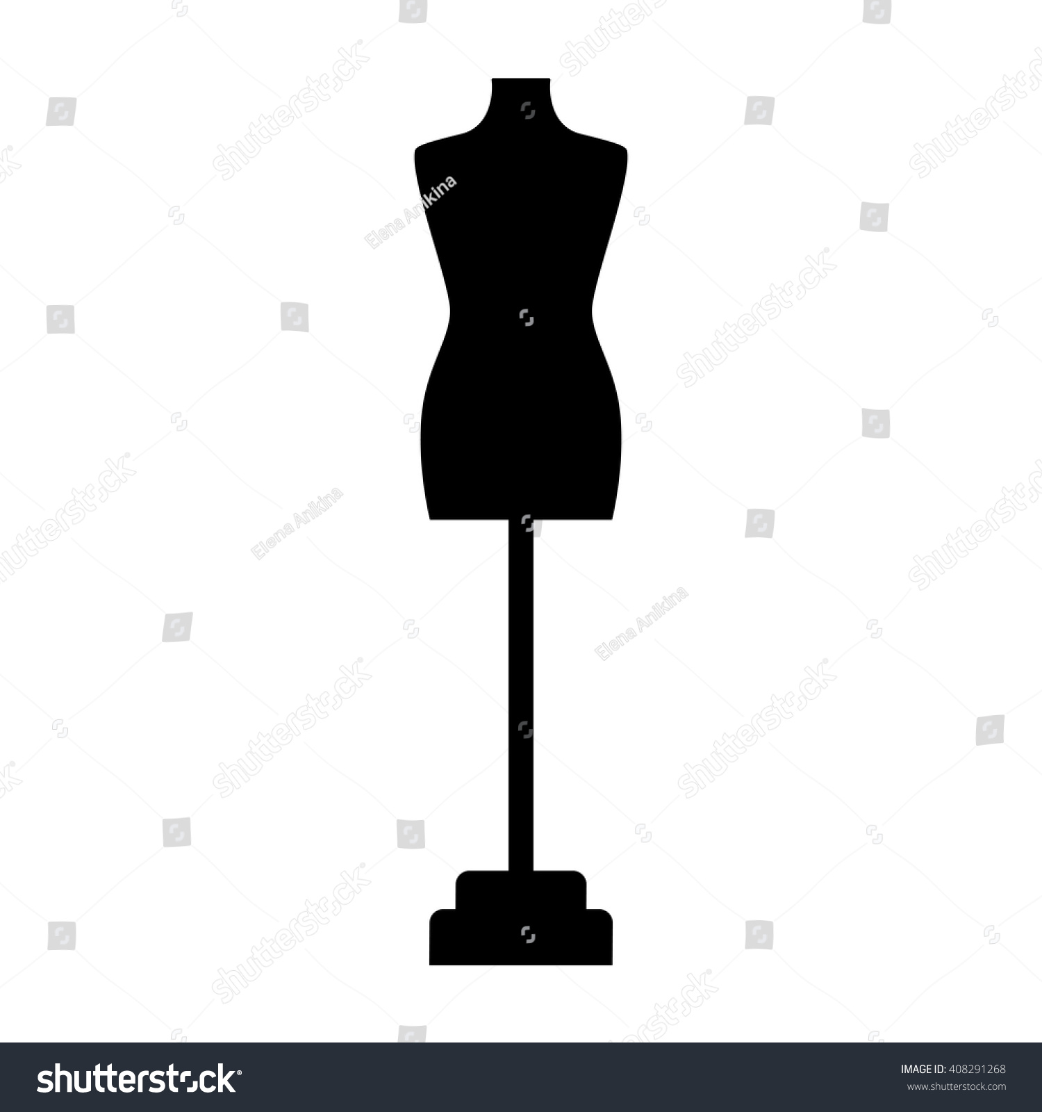 Tailor Dummy Fashion Icon On White Stock Vector 408291268 Shutterstock