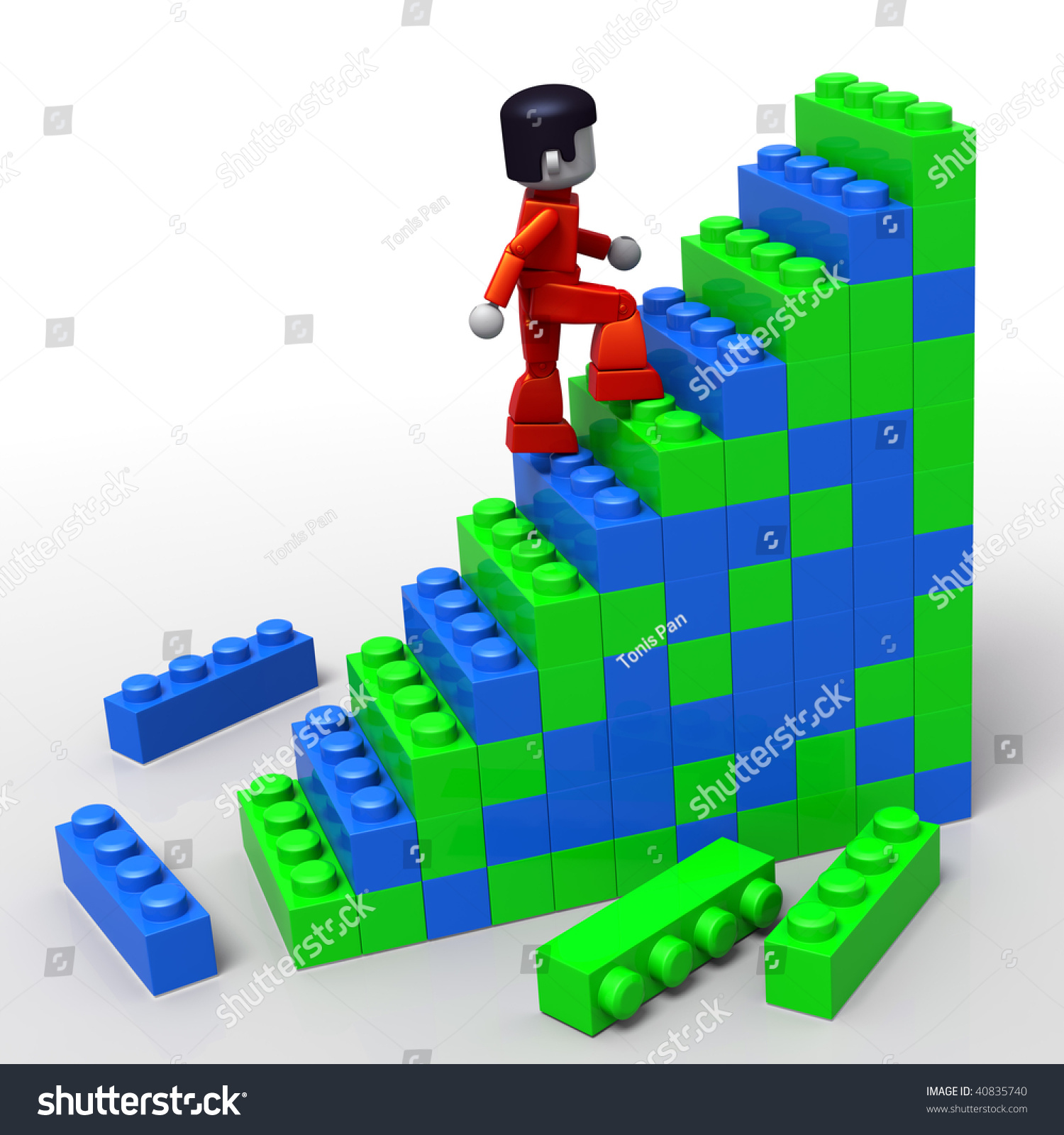 3d Rendered Illustration Minitoy Man Climbing Stock Illustration