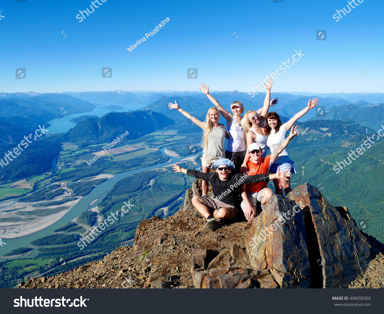 Successful Group of Happy Friends on Mountain Top, Cheering.  Mount Cheam Summit,  British Columbia, Canada.  #408358303