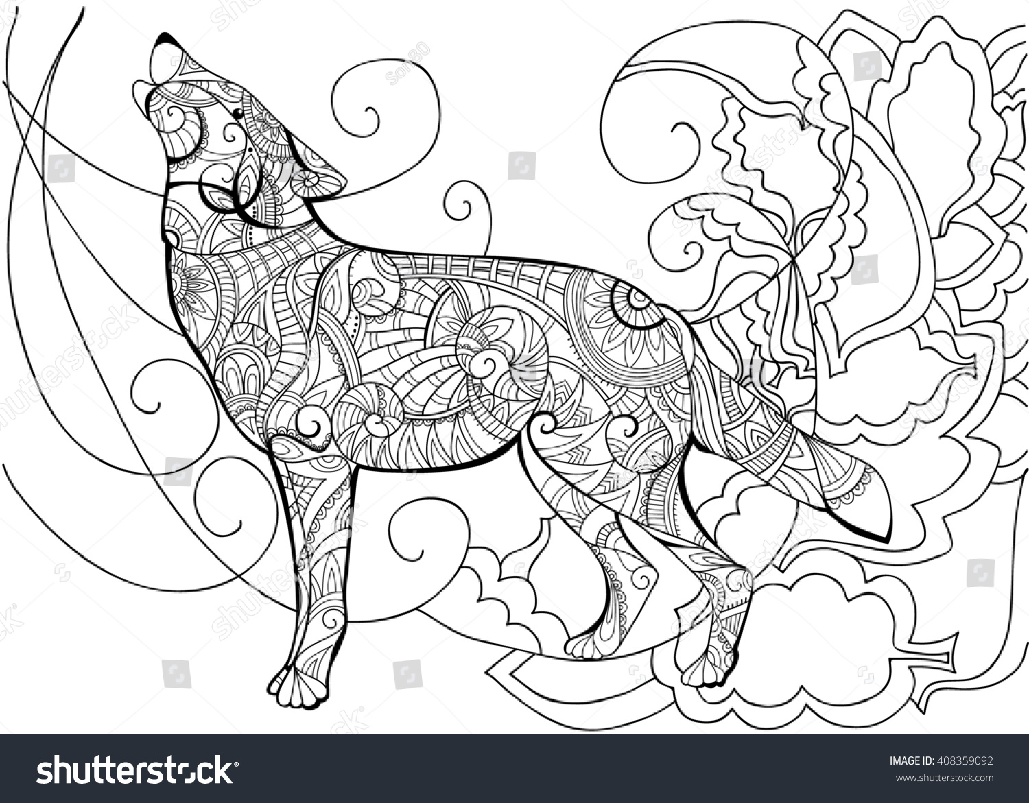 Coloring pages for adults wolf - Wolf Animal Coloring With Wolf Wolf Coloring Coloring Book For Adults Illustration
