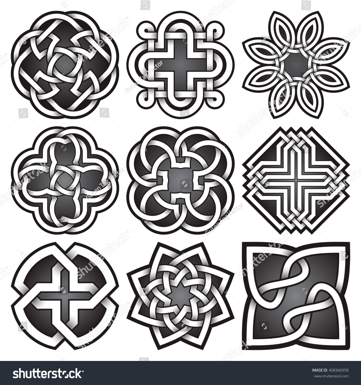 Set Logo Symbols Celtic Knots Style Stock Photo Photo Vector