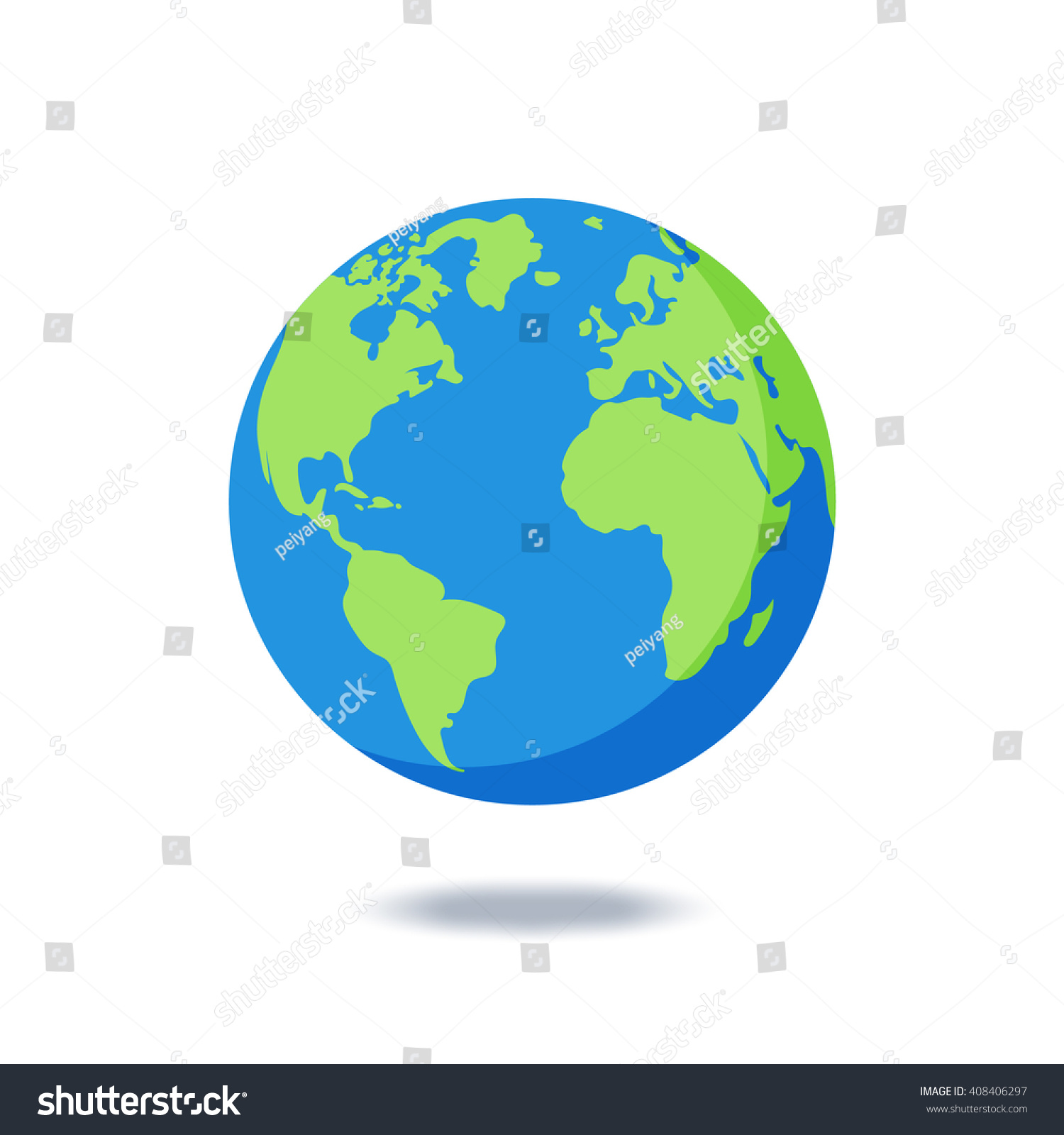 Flat planet earth icon a world globe isolated Vector Image   Earth Flat Icon Eps