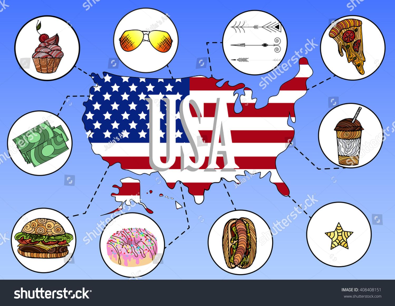 Traditional Symbols Usa Map Flag Vector Stock Vector 408408151