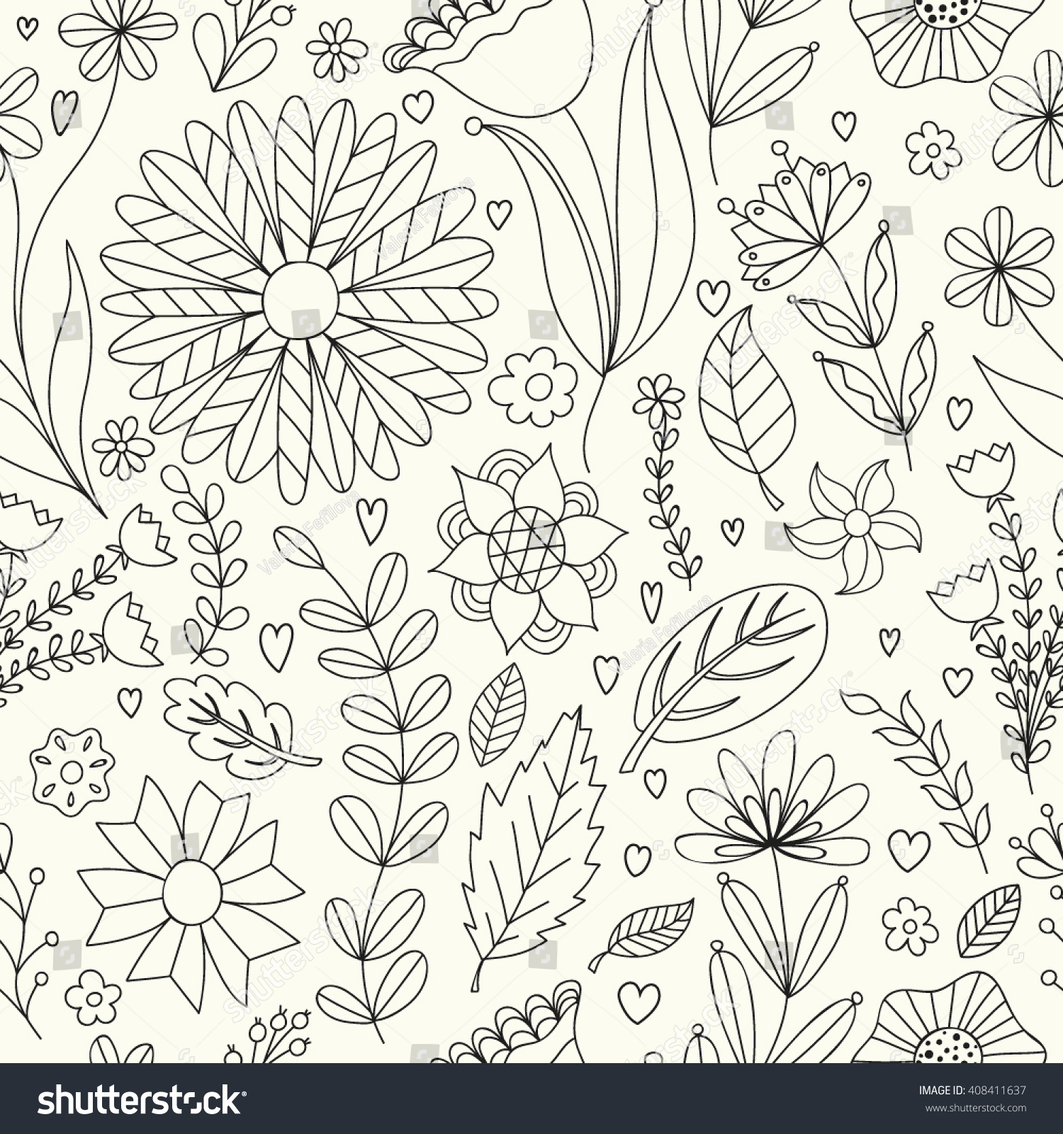 seamless floral pattern vector drawing black stock vector