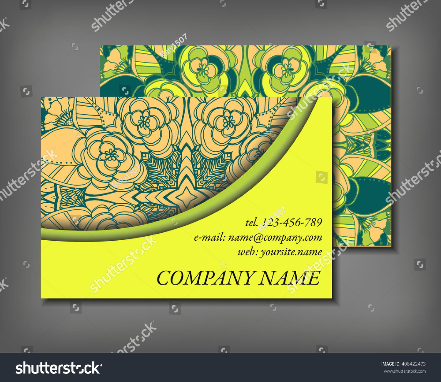 Set Business Card Template Abstract Elegant Stock Vector