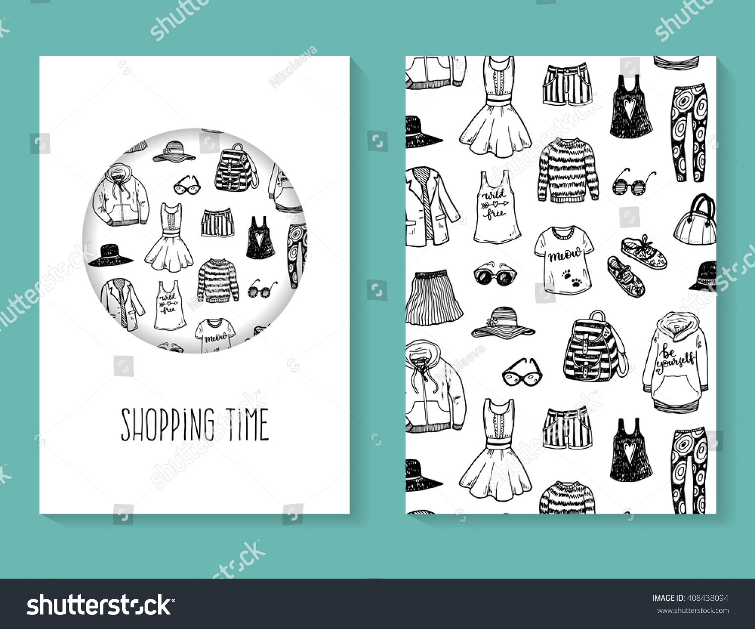 hand drawn fashion clothes flyer brochure stock vector royalty free