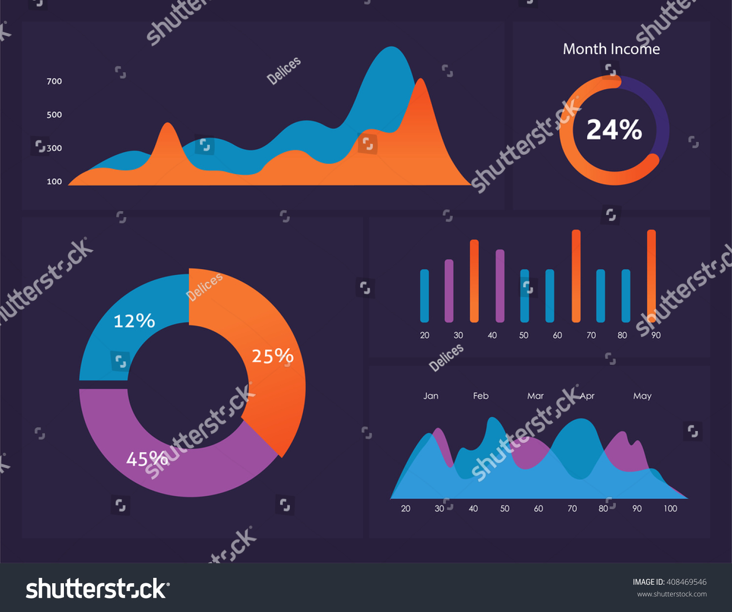 infographic dashboard template flat design graphs stock vector 408469546 shutterstock. Black Bedroom Furniture Sets. Home Design Ideas