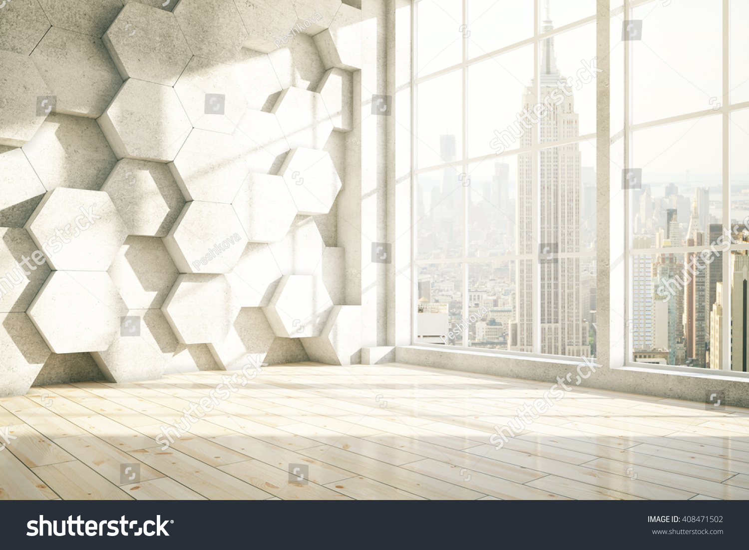 Honeycomb interior with New York city view 3D Rendering