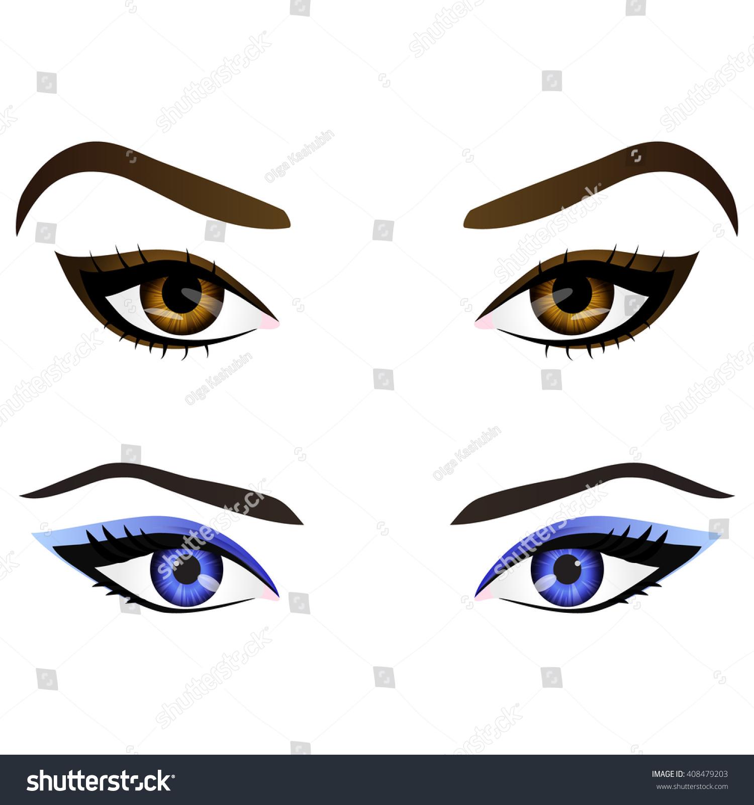 Set Realistic Cartoon Female Eyes Eyebrows Stock Illustration