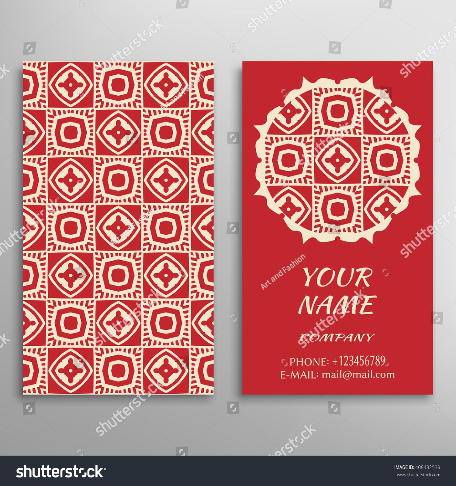 Business Card Geometric Floral Pattern Mandala Stock Vector ...