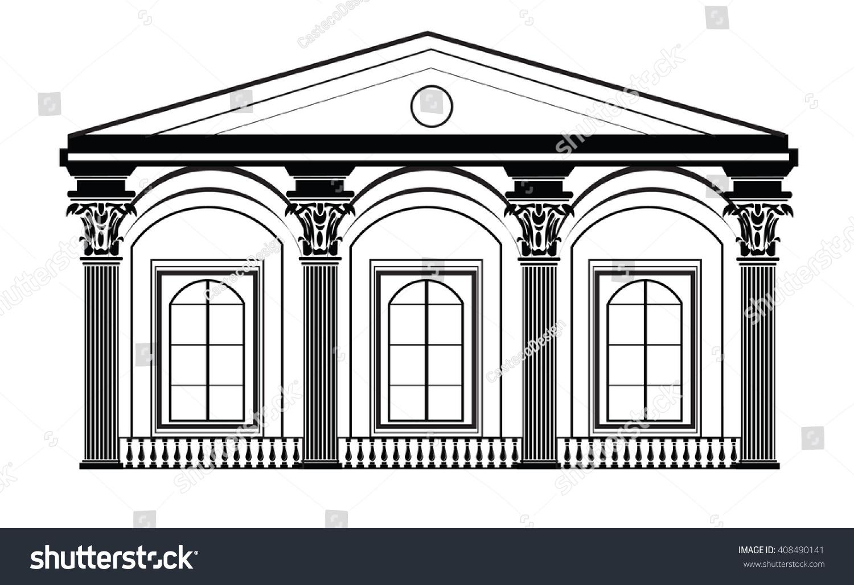 Architectural classic house facade corinthian columns for Classic house facades