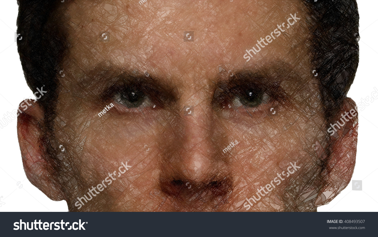 Man S Face Line Drawing : Partial mans staring face made artistic stock illustration