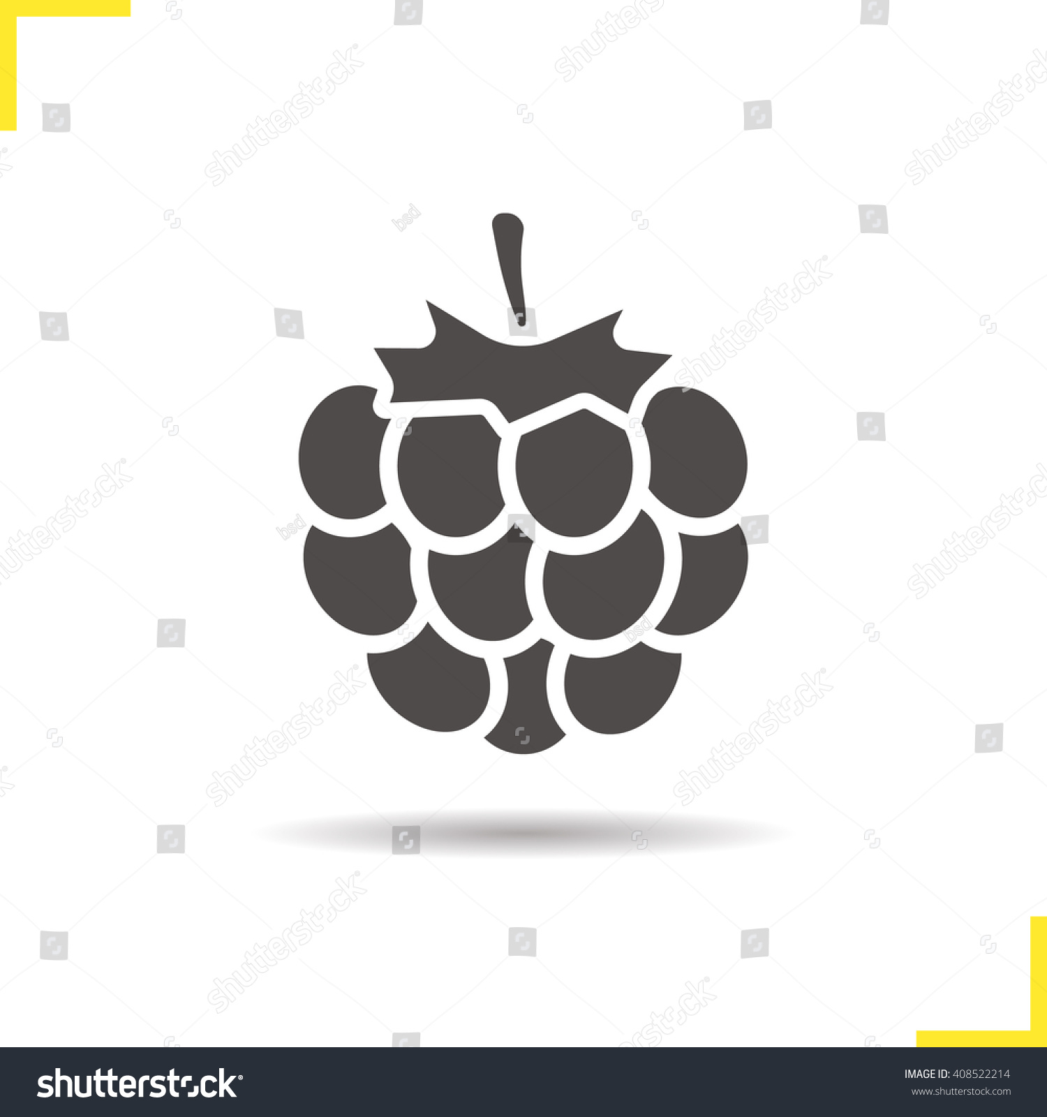 Raspberry Icon Drop Shadow Blackberry Silhouette Stock Vector