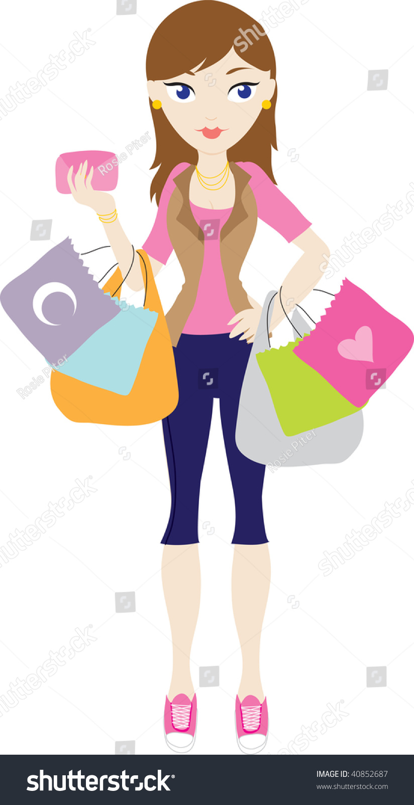 clip art illustration young woman shopping stock