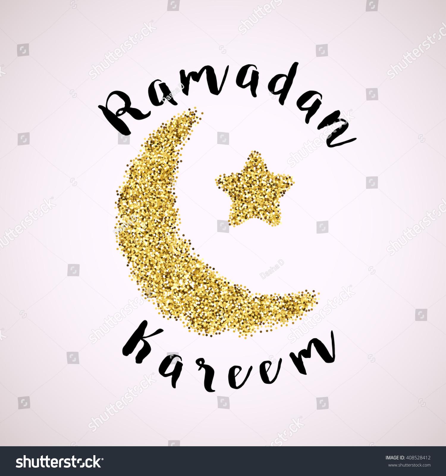 Ramadan Greeting Background Gold Crescent Moon Stock Vector Royalty