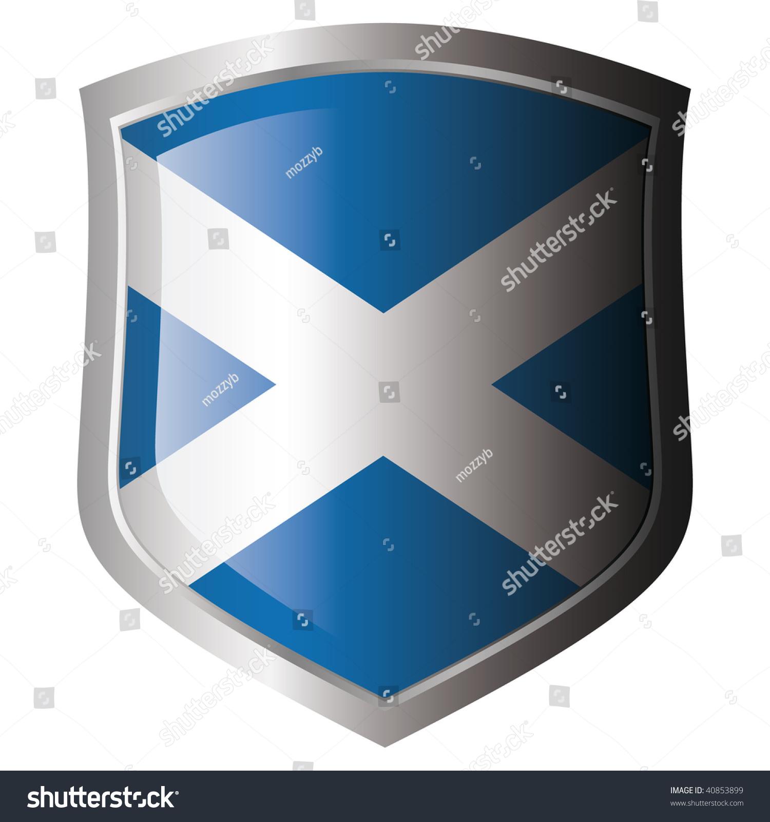 scotland flag on metal shiny shield stock vector 40853899
