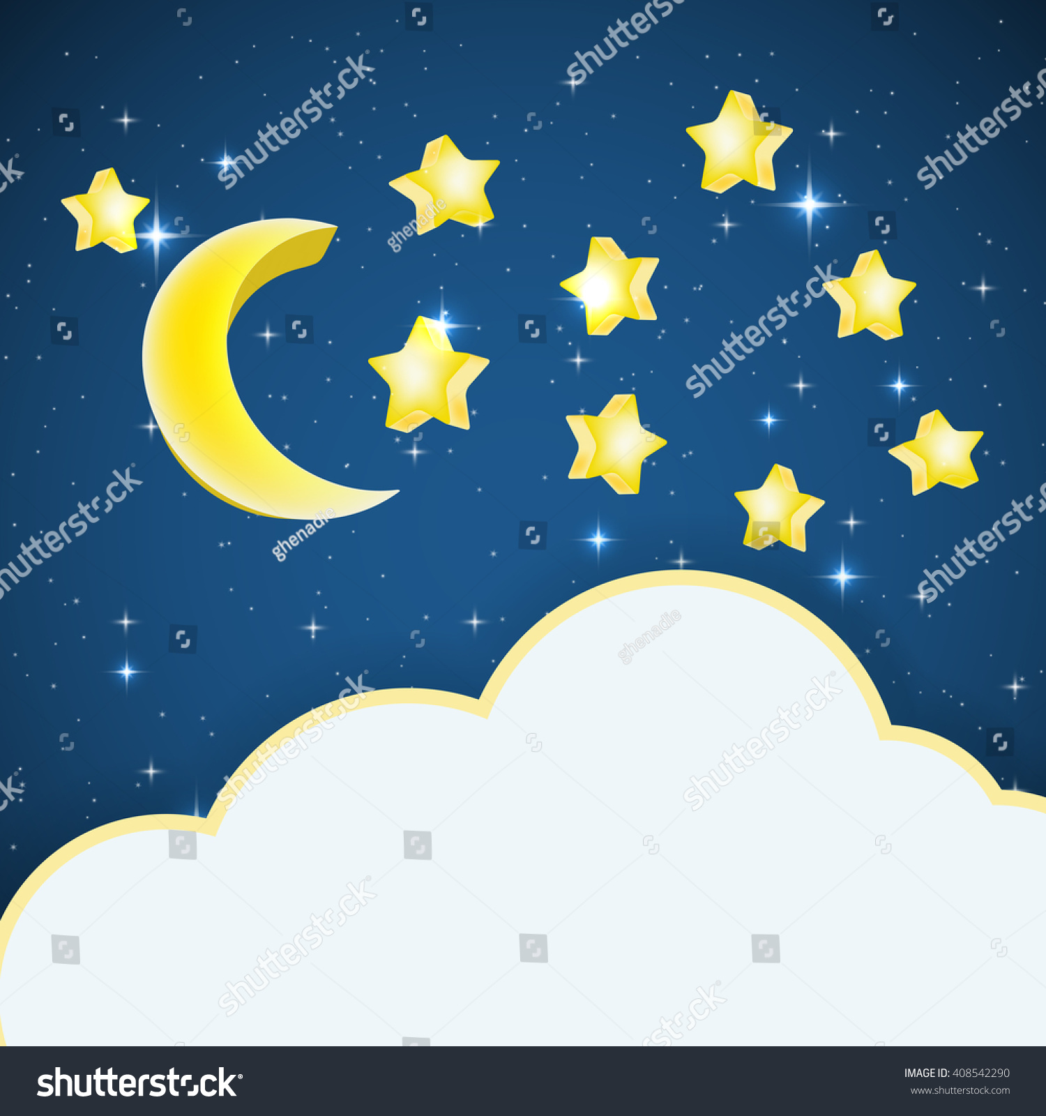 Exceptional Night Sky Background With Cartoon Stars And Moon And Cloud Frame For Text.  Vector Illustration