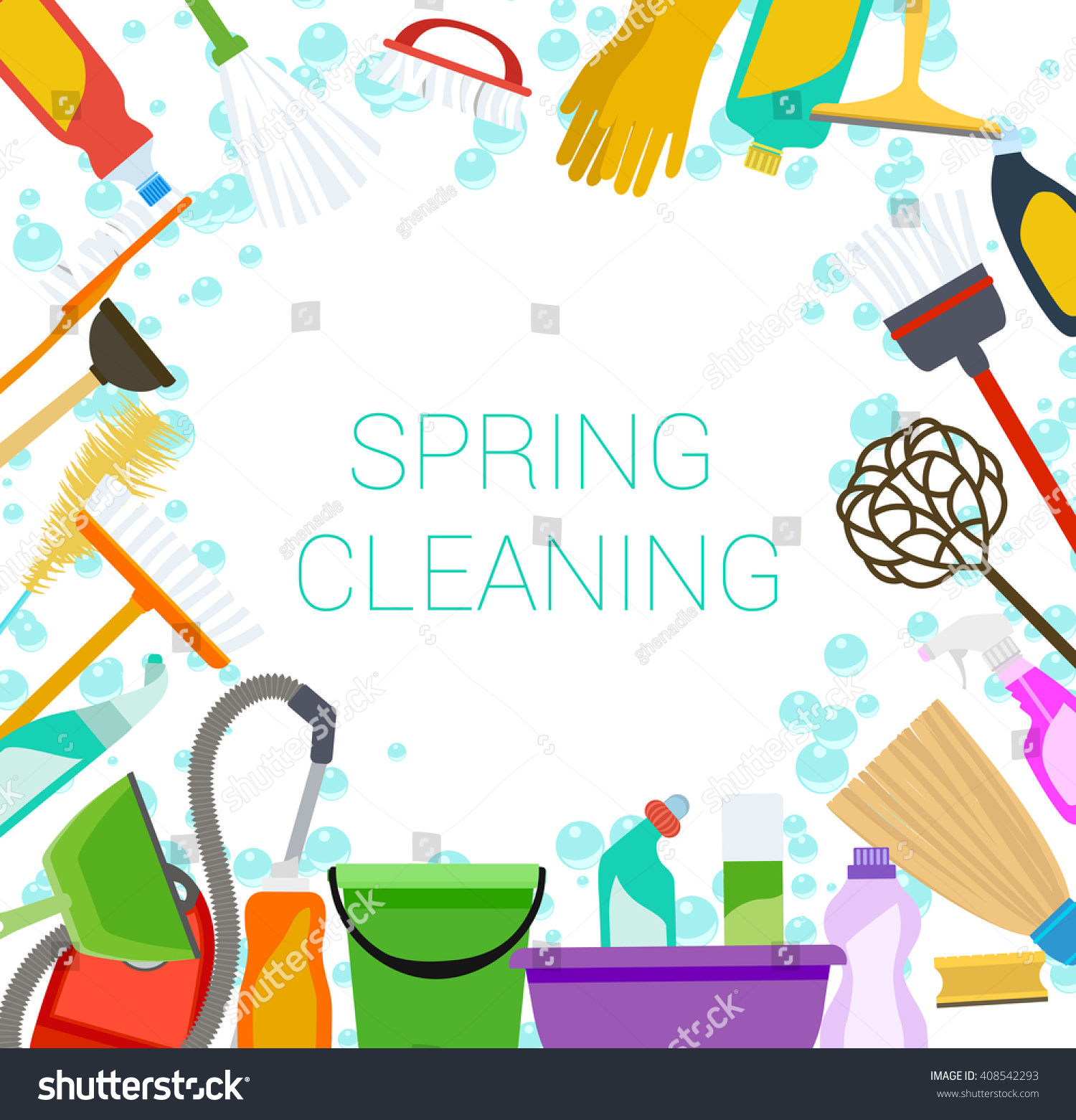 Classroom Cleaners Design ~ Spring cleaning supplies frame on white stock vector