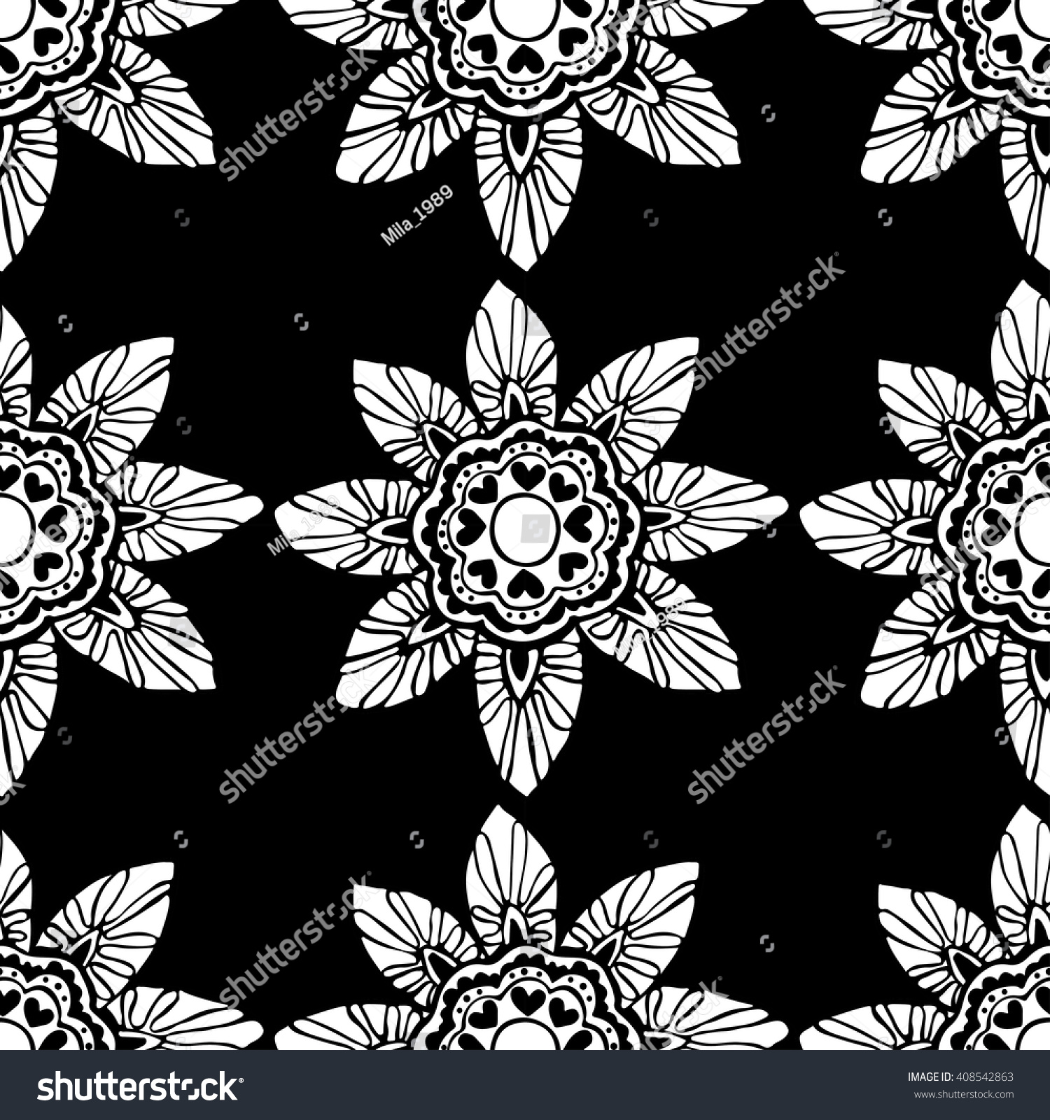 Seamless Pattern Black White Flowers On Stock Photo Photo Vector