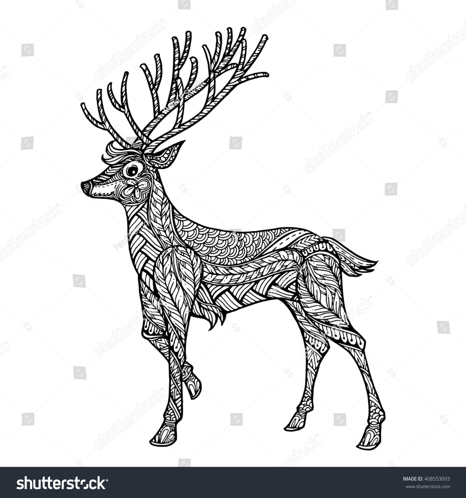 hand drawn ethnic ornamental patterned deer stock vector 408553093