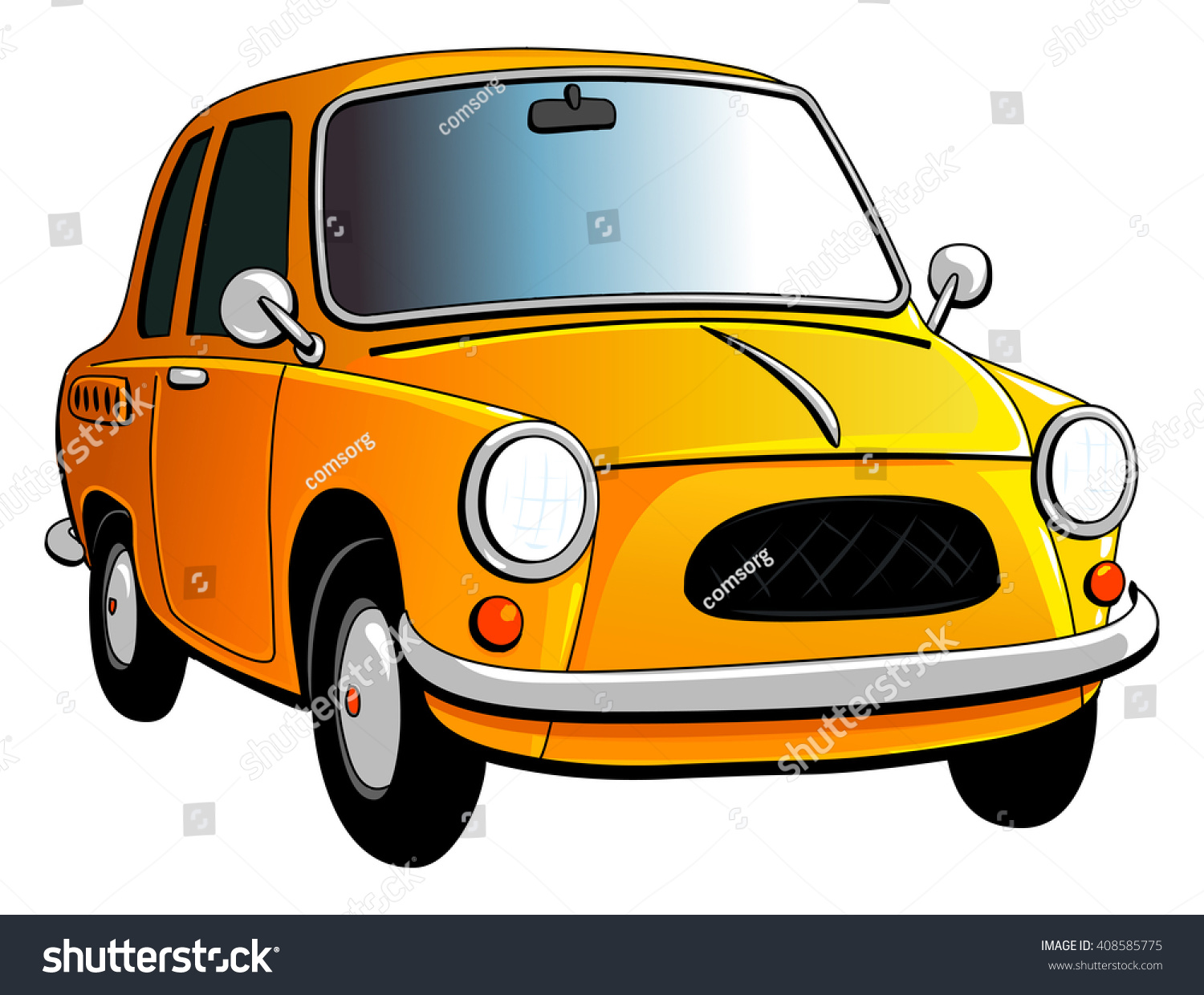 Caricature Old Small Yellow Car Stock Vector 408585775 - Shutterstock