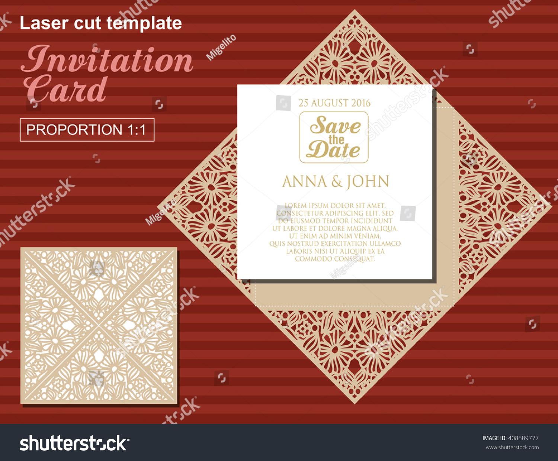 Vector Die Laser Cut Wedding Card Stock Vector (Royalty Free ...