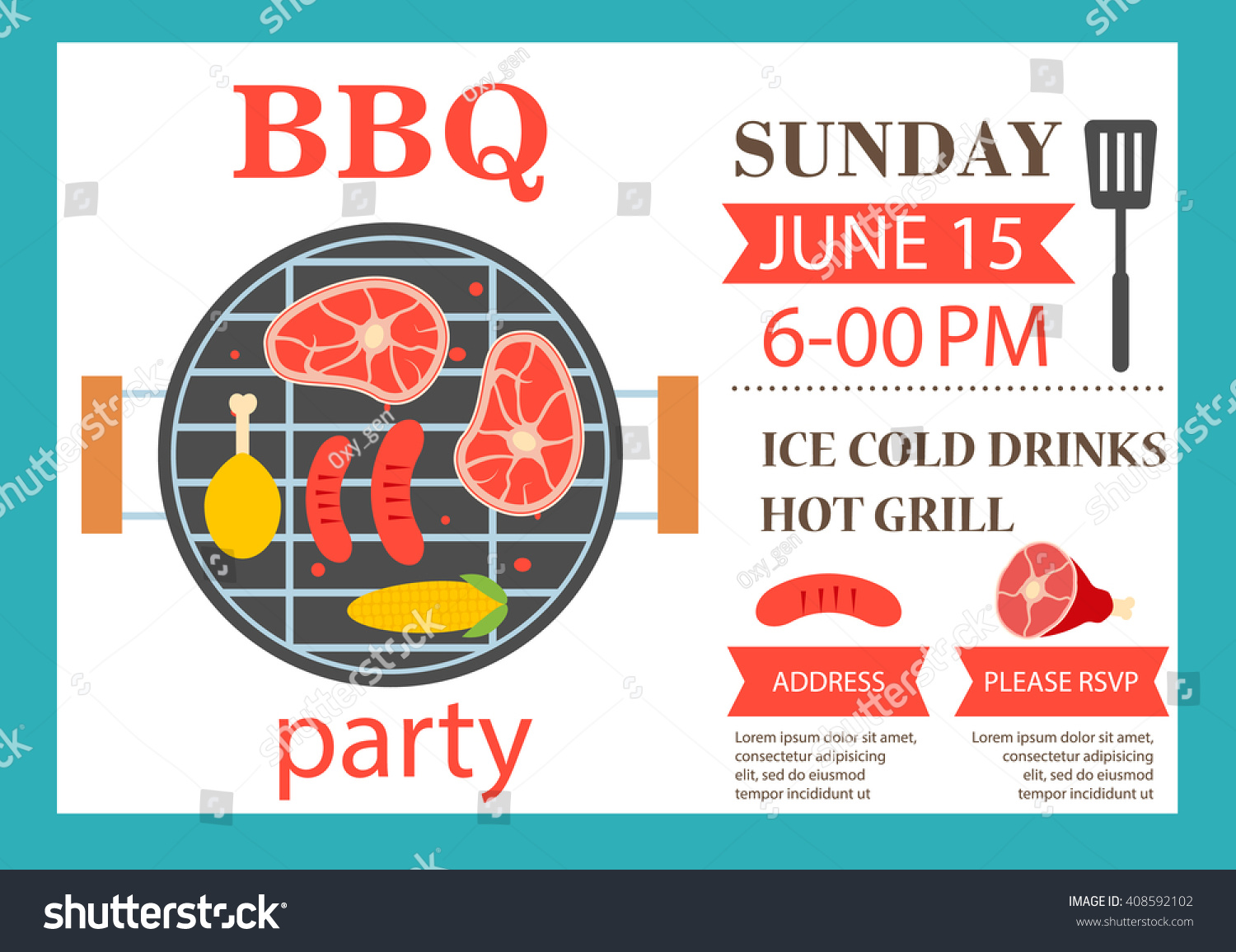 Bbq Party Invitation Barbecue Invitation Flyer Vector – Party Invitation Flyer