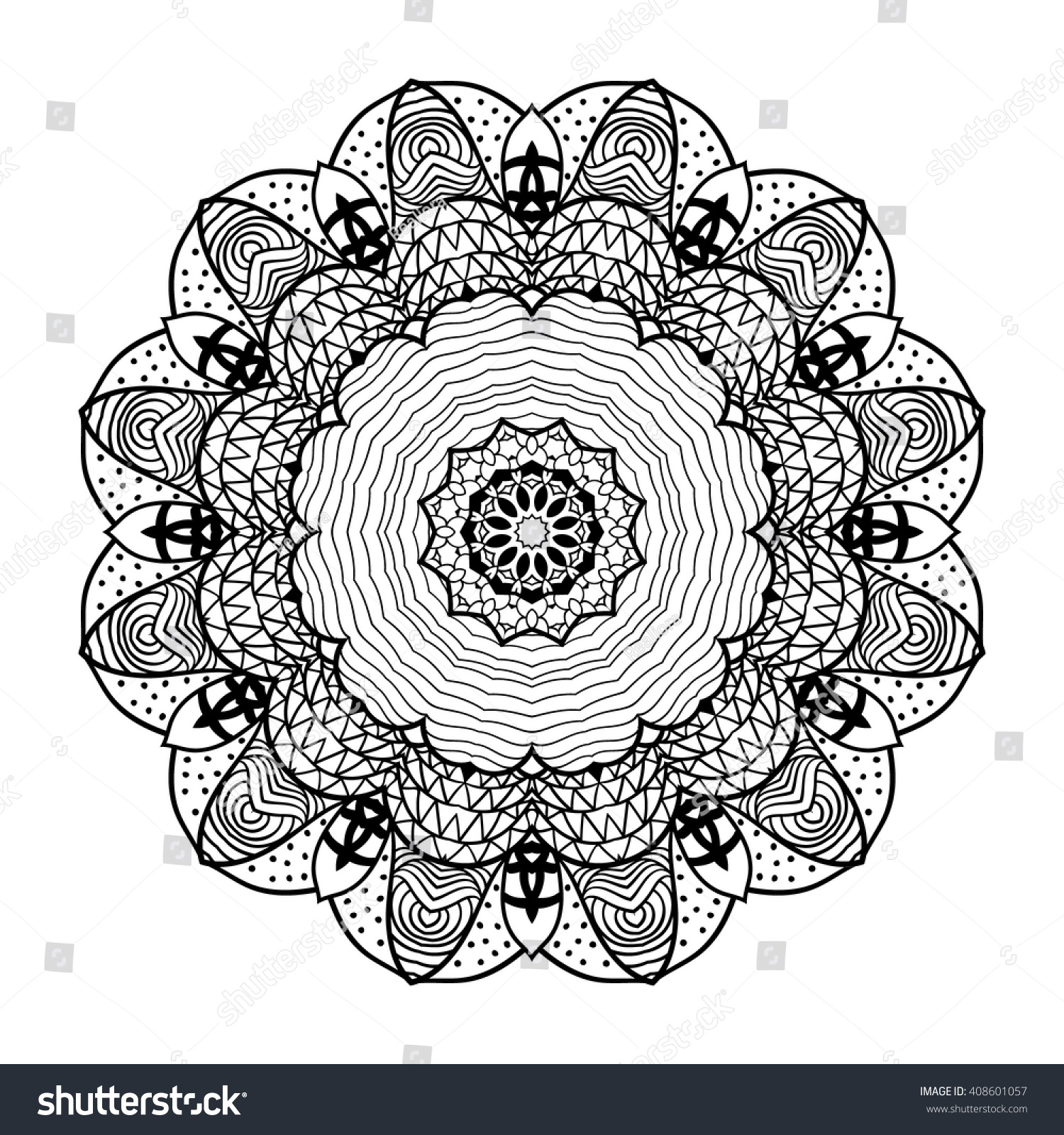 Zendoodle Coloring Pages Adult Coloring Page Mandala Vector Art Stock Vector 408601057