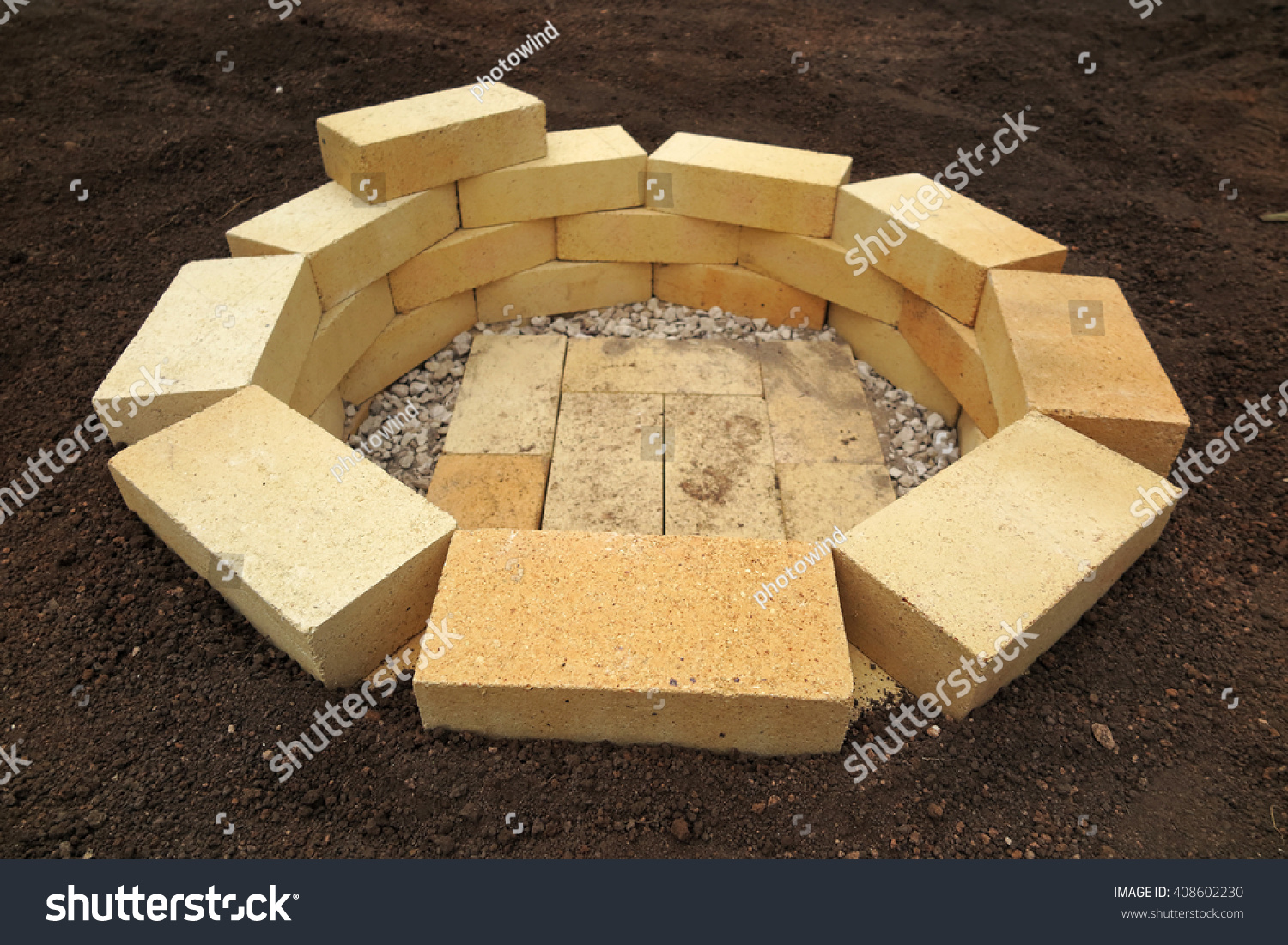 Step by step making fire pit stock photo 408602230 for Step by step fire pit