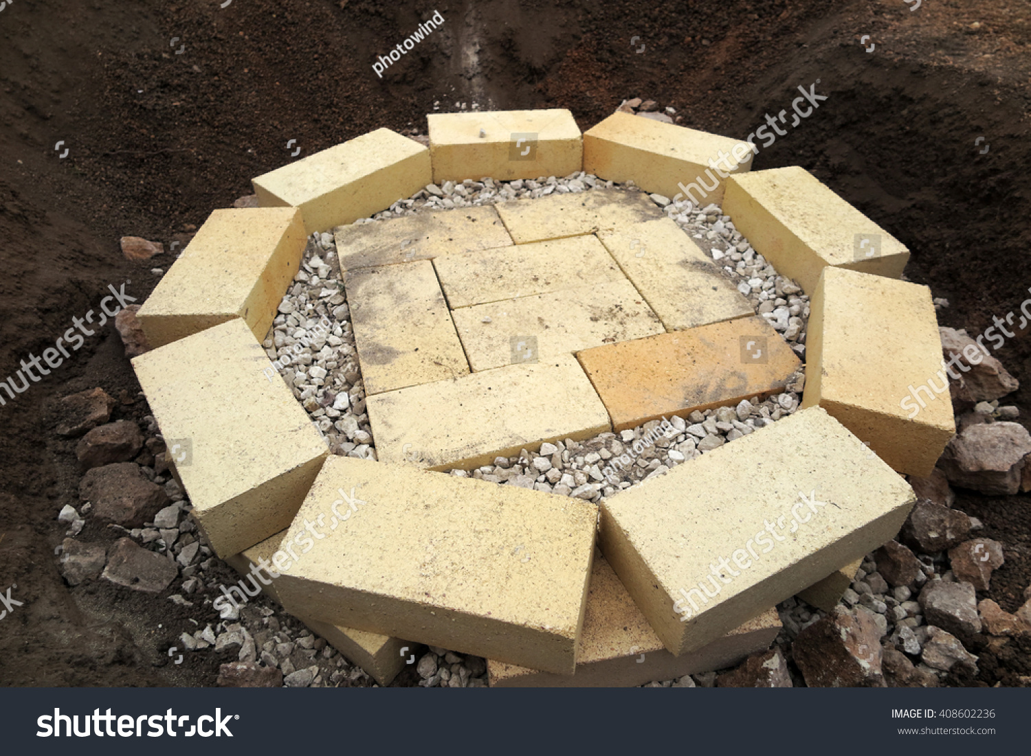 Step by step making fire pit stock photo 408602236 for Step by step fire pit