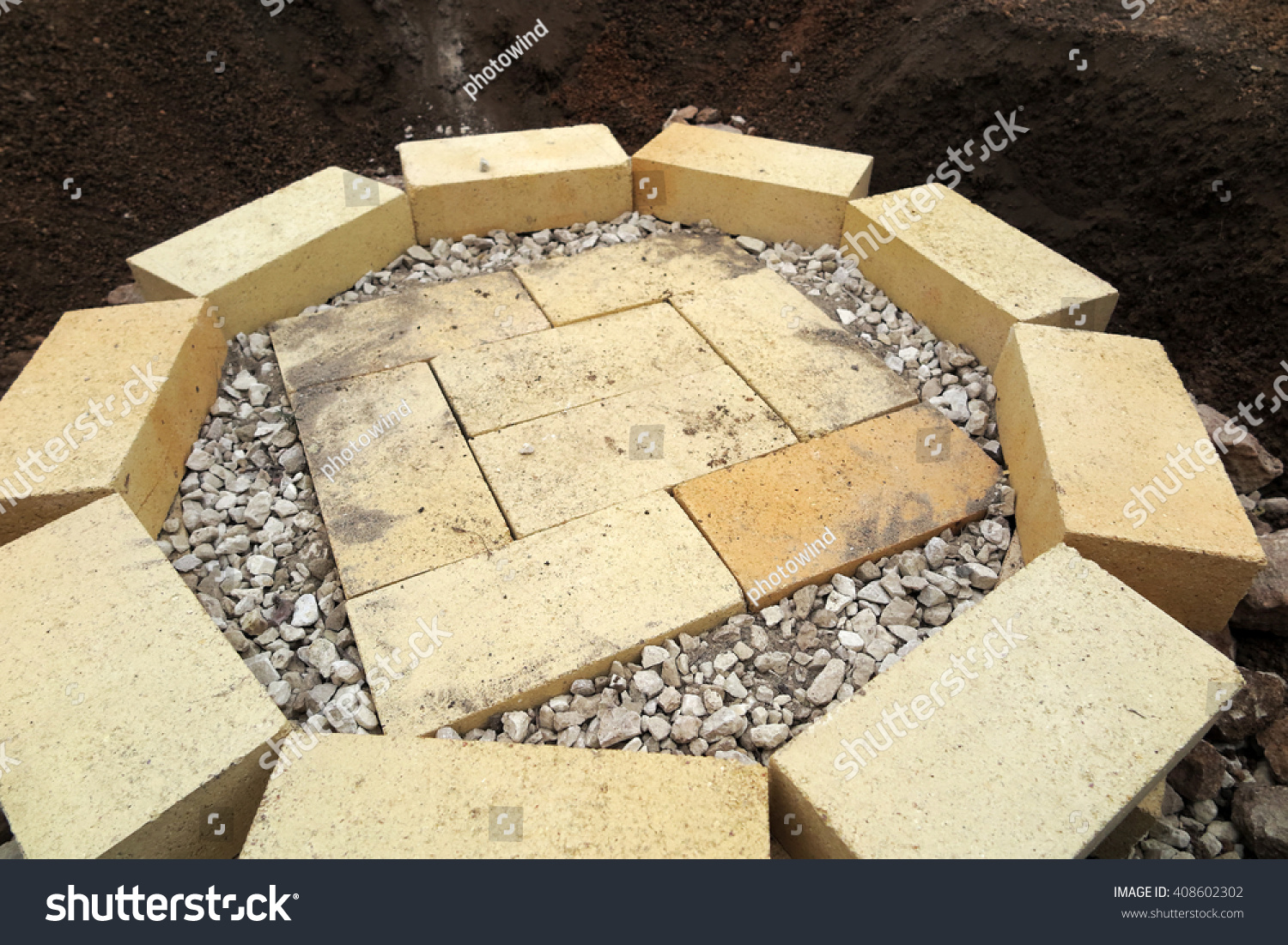 Step by step making fire pit stock photo 408602302 for Step by step fire pit