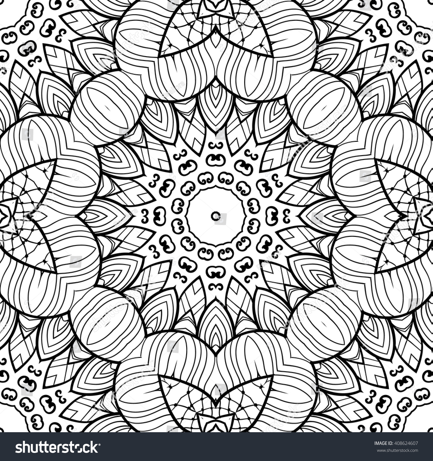 Adult Coloring Page Seamless Zendoodle Vector For Art Book Square