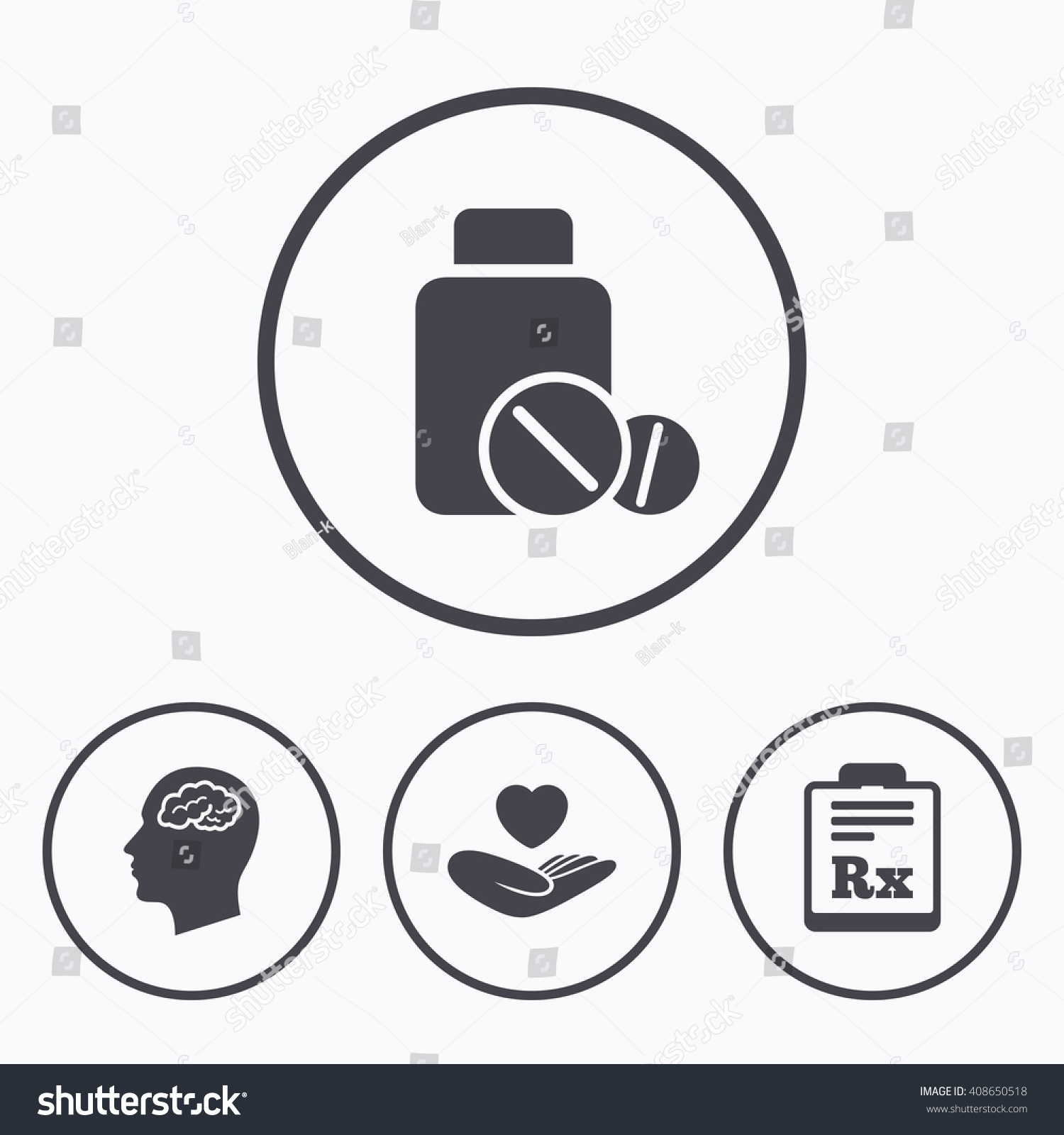 Medicine Icons Medical Tablets Bottle Head Stock Illustration