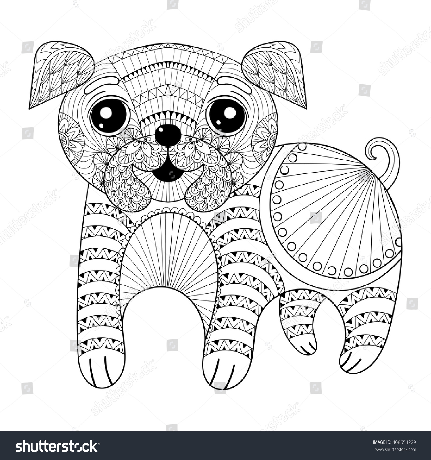 Zentangle Hand Drawing Dog Antistress Coloring Stock Vector ...
