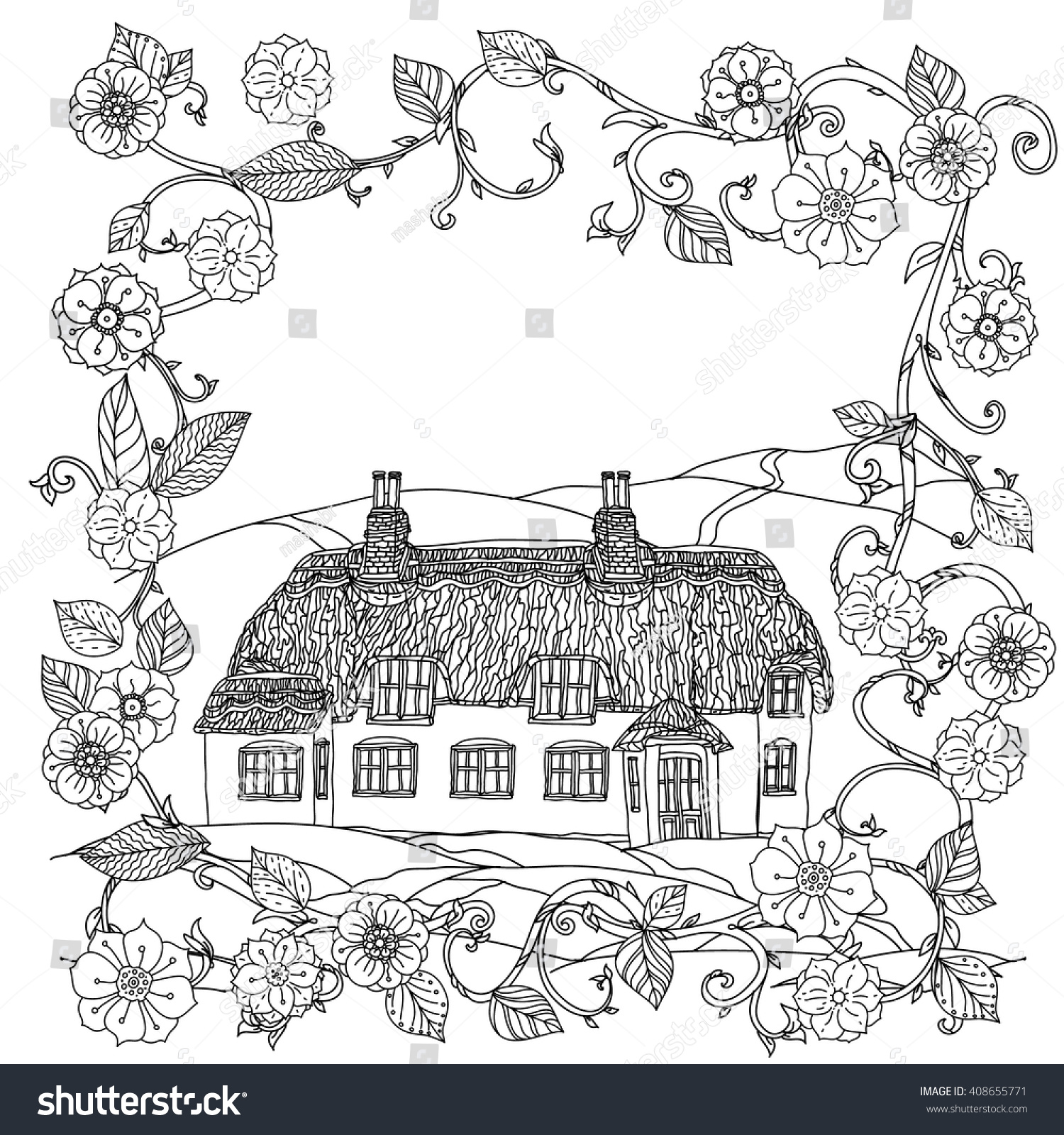 Black And White Flowers Victorian House For Adult Coloring Book Zen Art Style