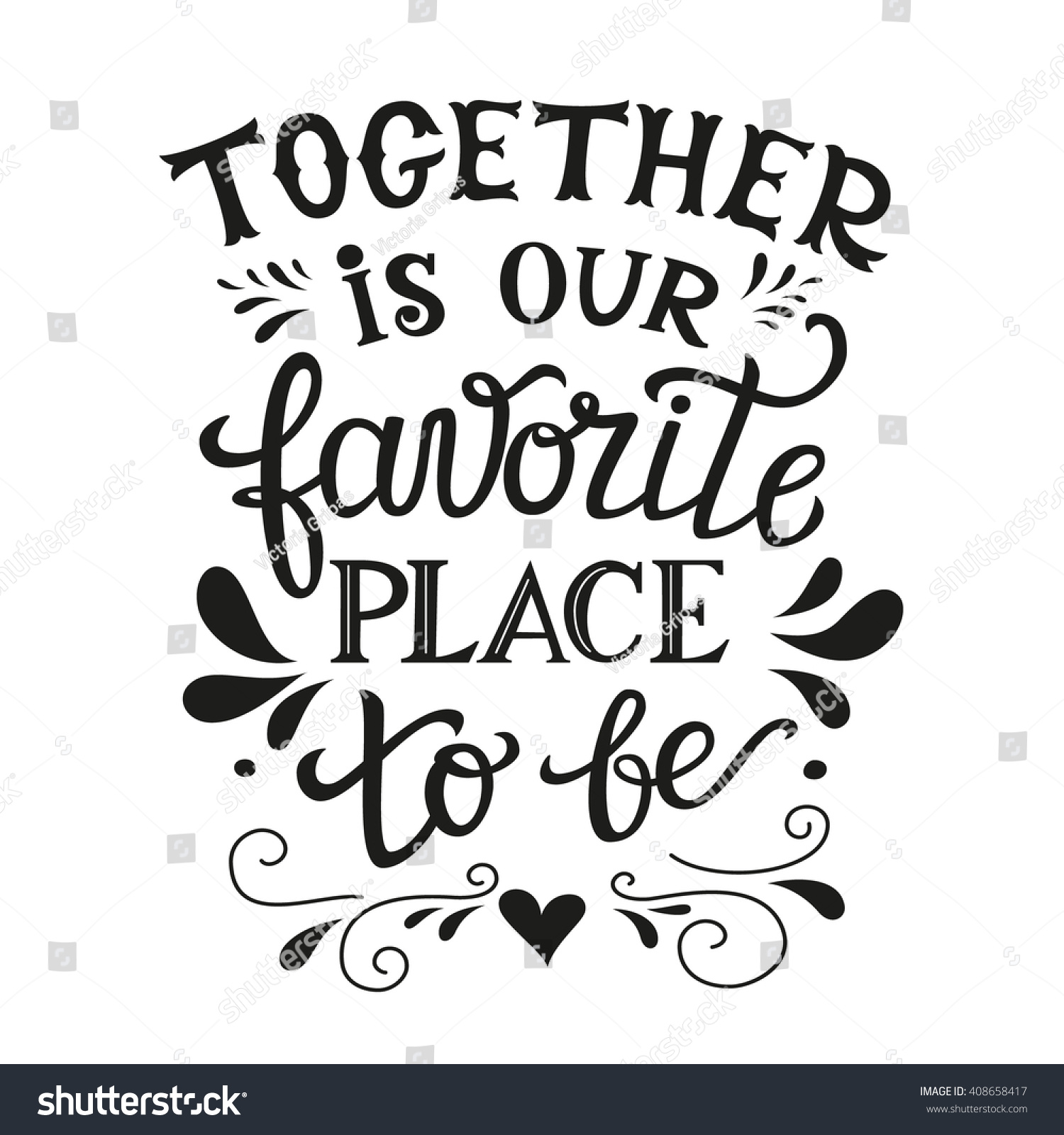 Family Quote Hand Lettering Typography Family Poster Romantic Stock Vector