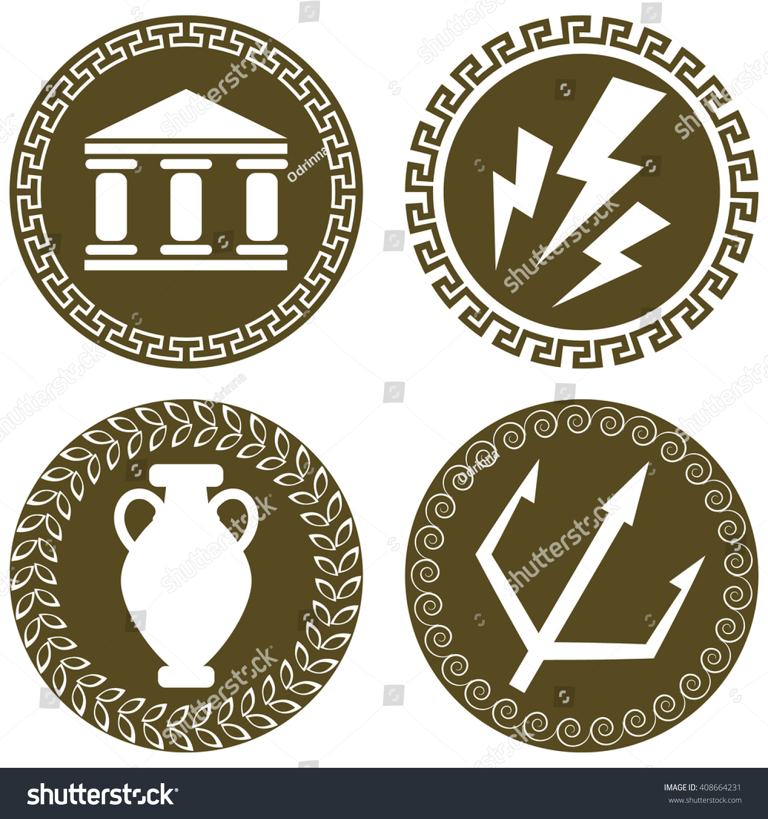 Set ancient flat logos temple zeus stock vector 408664231 set of ancient flat logos with temple zeus lightning amphora and trident of poseidon biocorpaavc Images