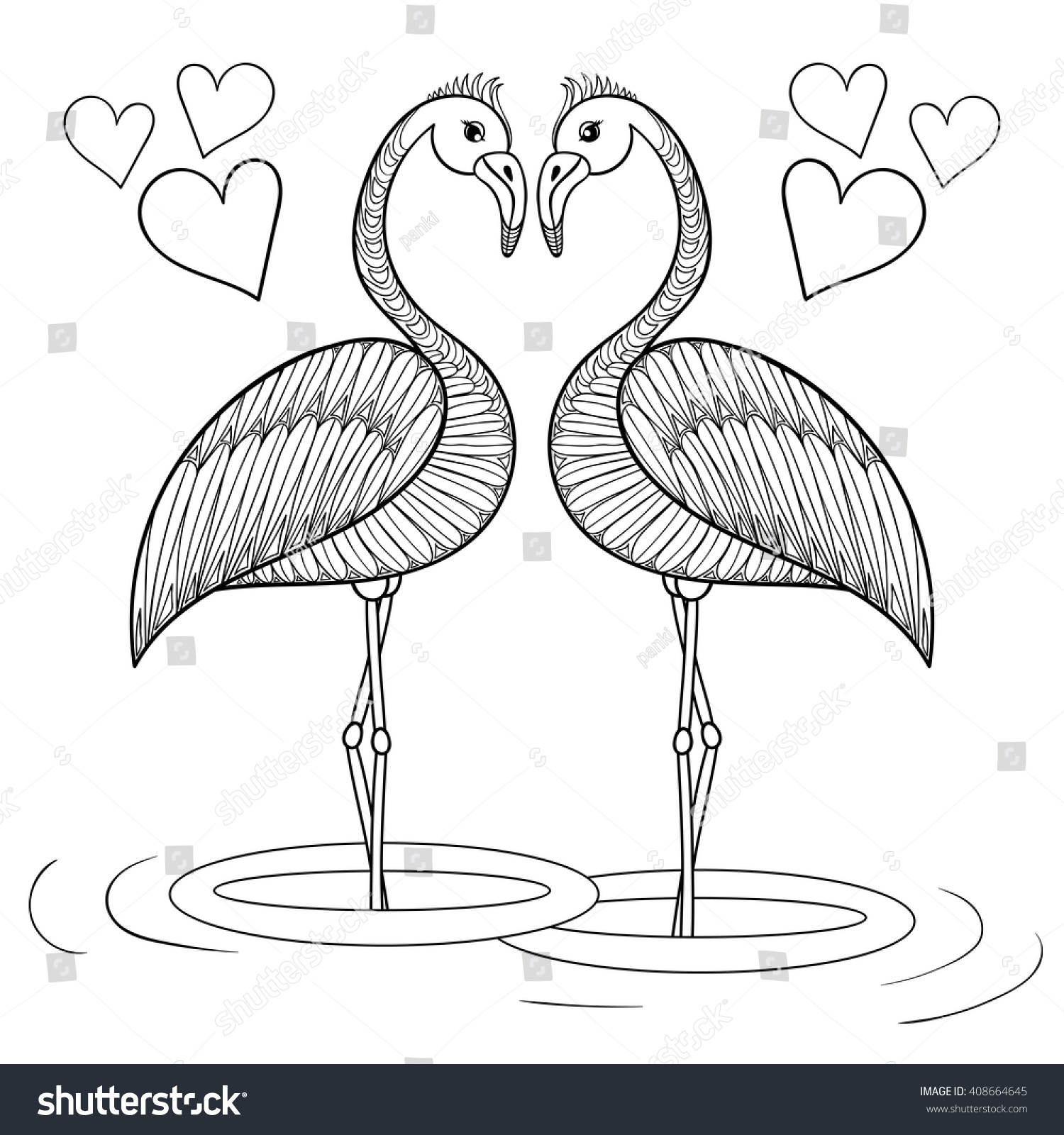 Coloring sheets for adults flamingo - Coloring Page With Flamingo Birds In Love Zentangle Hand Drawing Illustration Tribal Totem Bird For