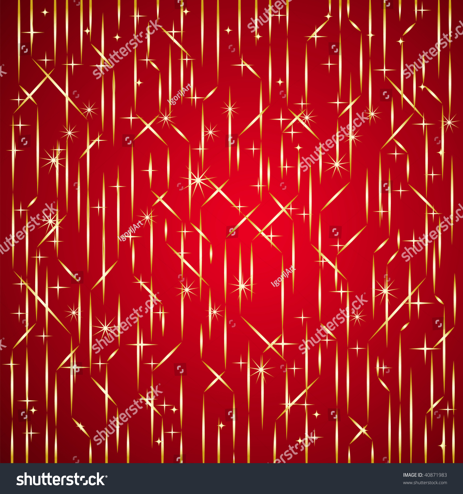 Red Background Gold Lines Rain Stock Vector Shutterstock