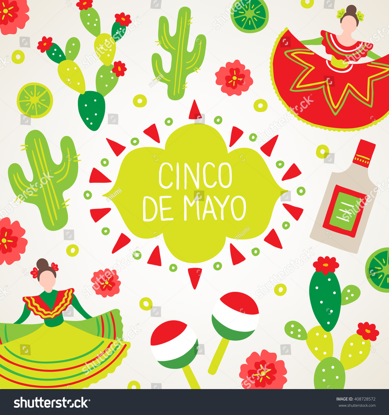 Cinco de mayo fifth may greeting stock vector 408728572 shutterstock cinco de mayo fifth of may greeting card with dancing woman cactus kristyandbryce Gallery