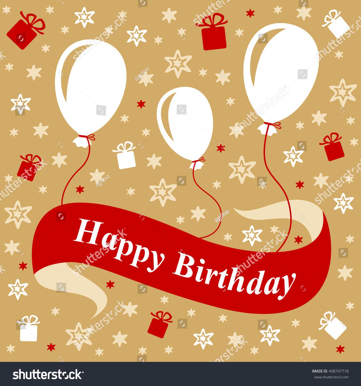Illustrations Birthday Greeting Card Ribbon Balloons Stock
