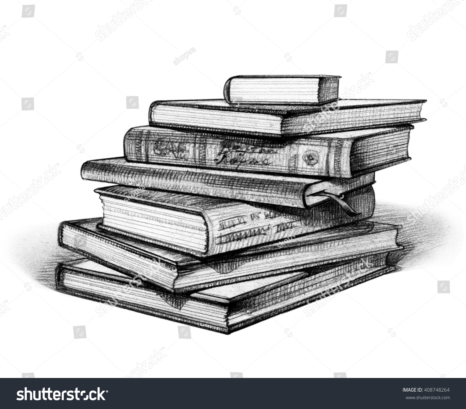 Stack Of Picture Books Pencil Sketch