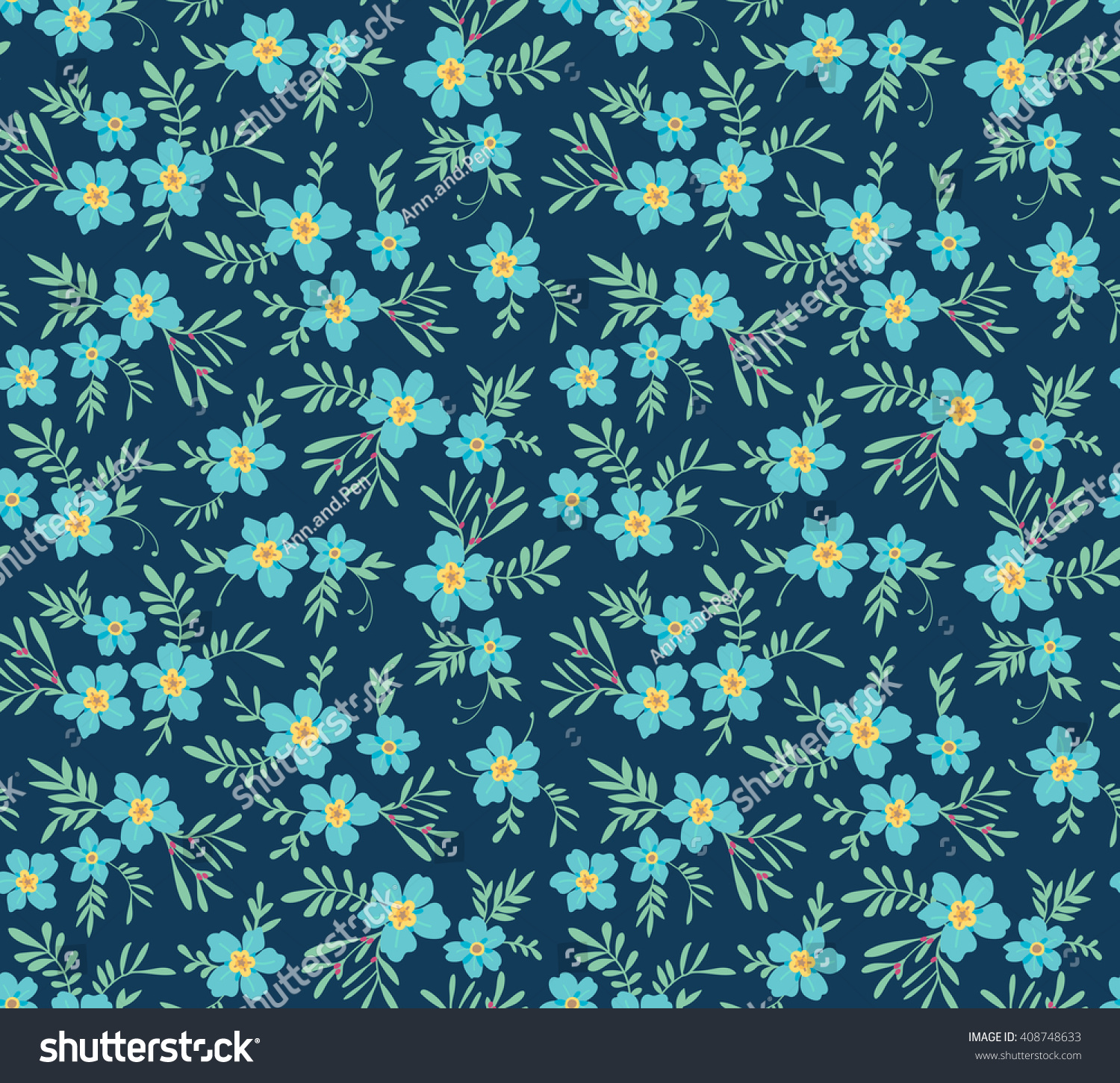 Cute Pattern Small Flower Small Blue Stock Vector Royalty Free