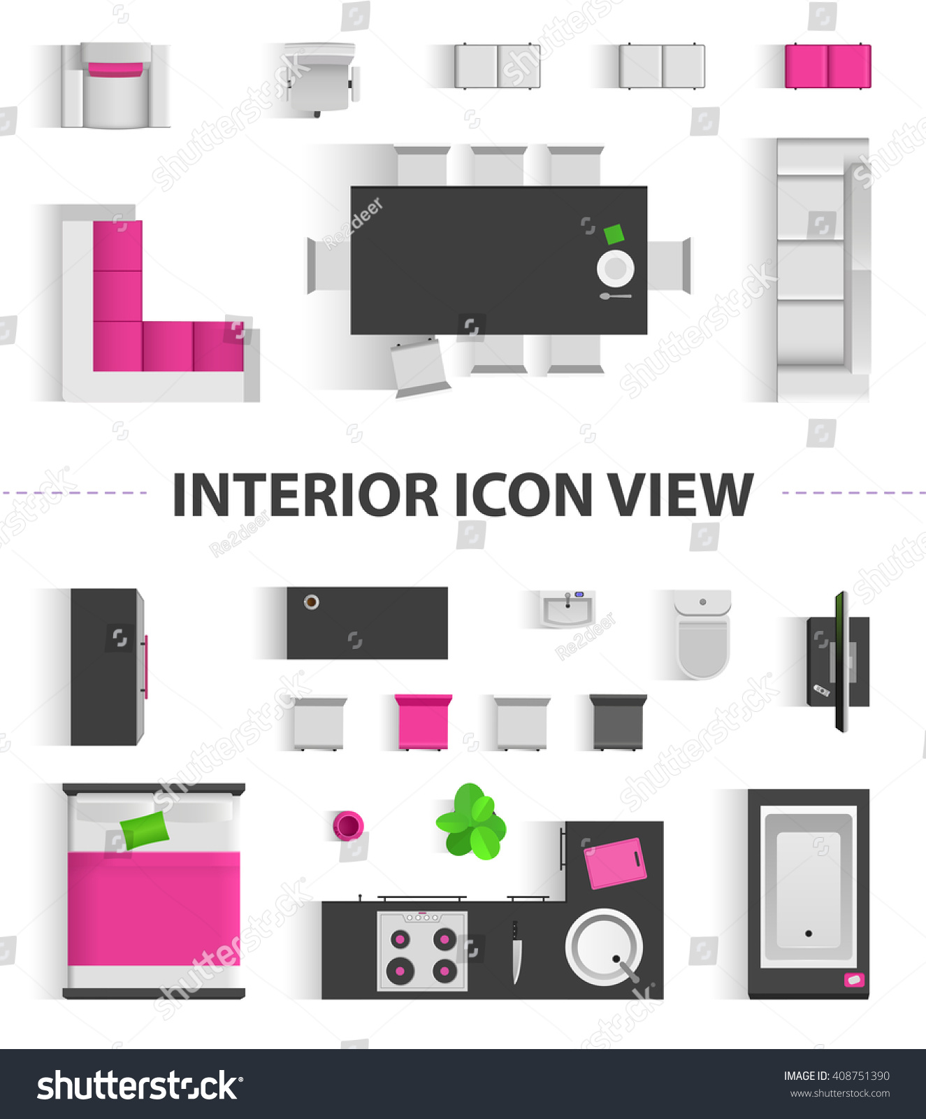 Set Top View For Interior Icon Design. Isolated Vector ...