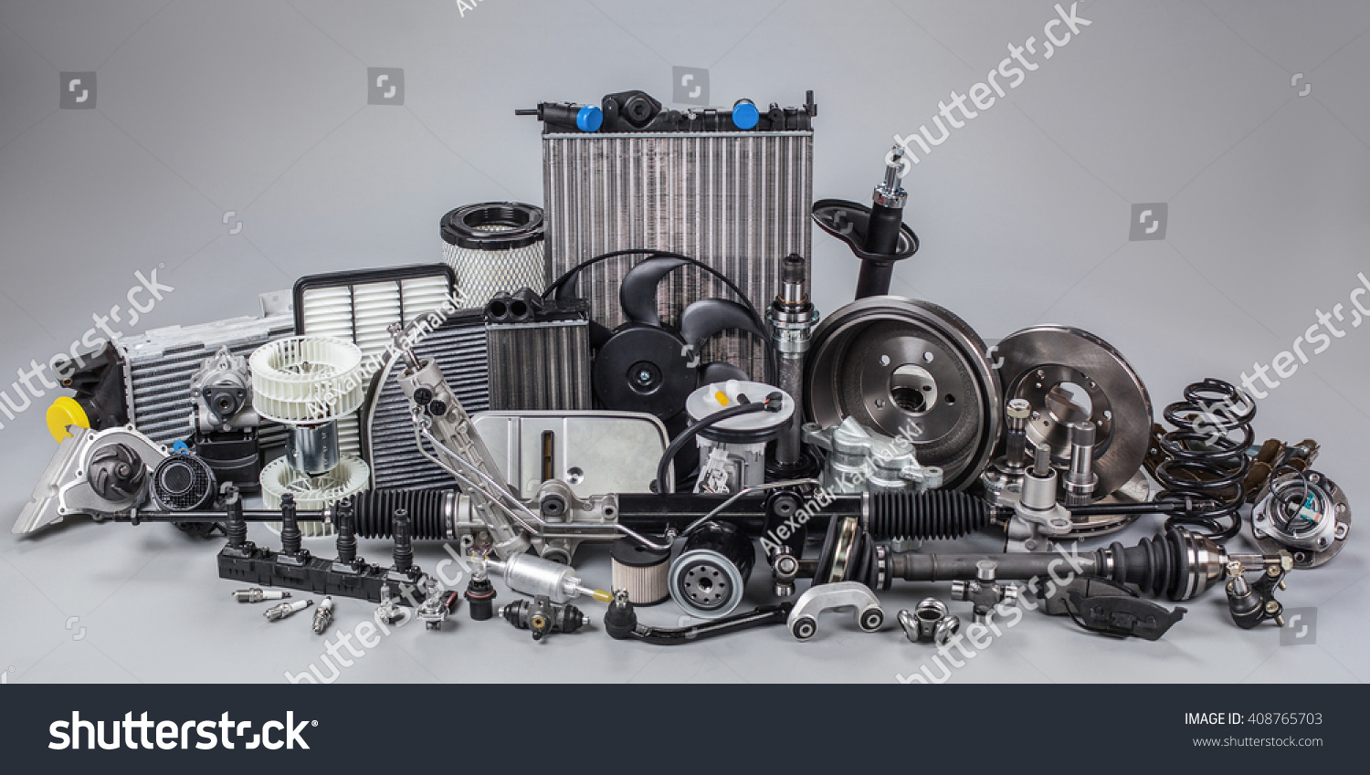 Car Parts On Gray Background Stock Photo (Safe to Use) 408765703 ...