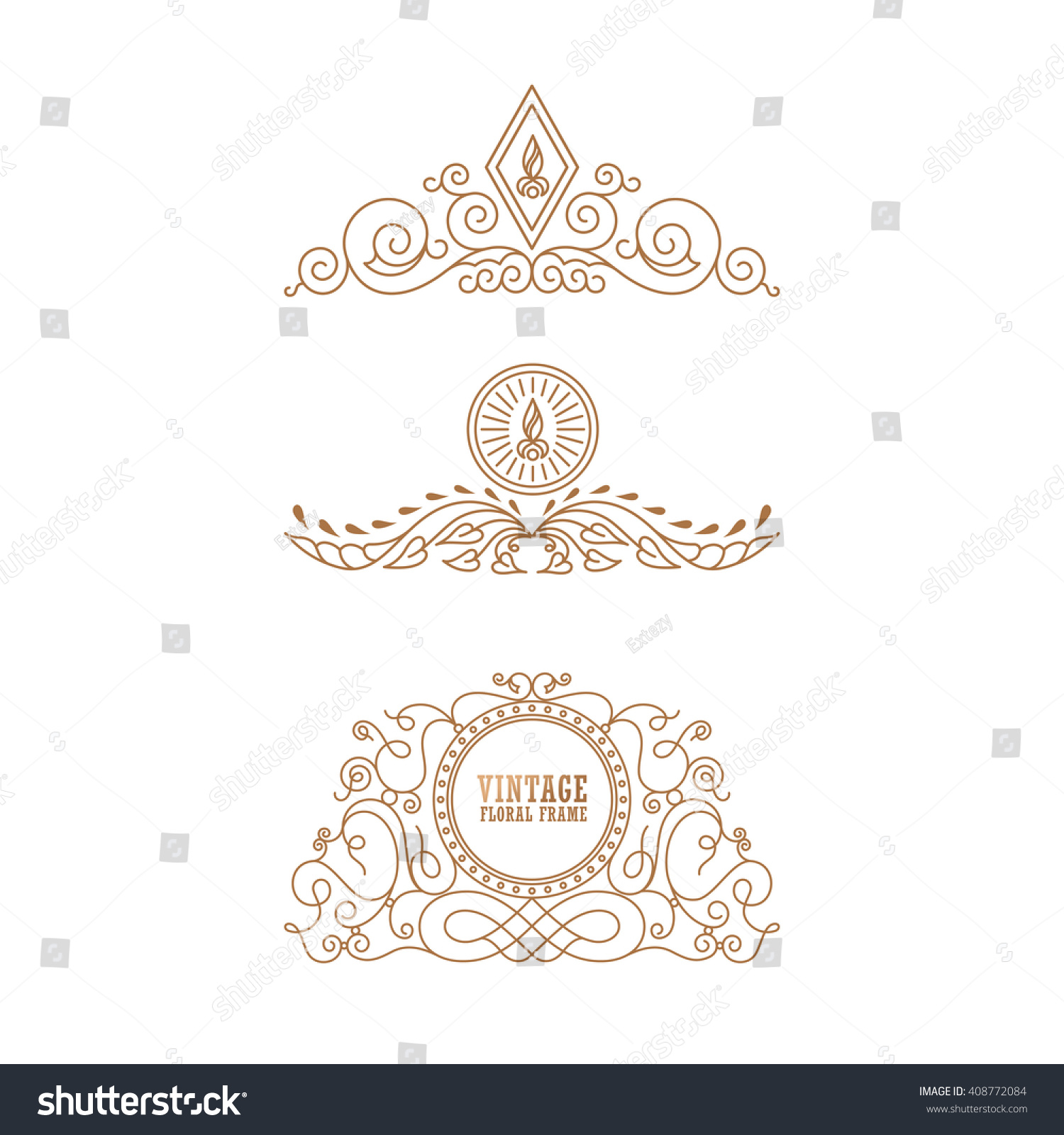calligraphic crest luxury line logo template stock vector 408772084 shutterstock. Black Bedroom Furniture Sets. Home Design Ideas