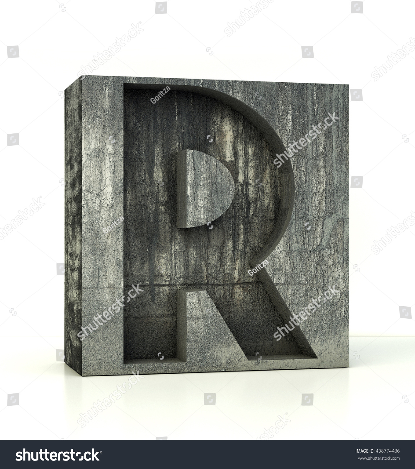 Concrete Font Box Letter R Alphabet Stock Illustration