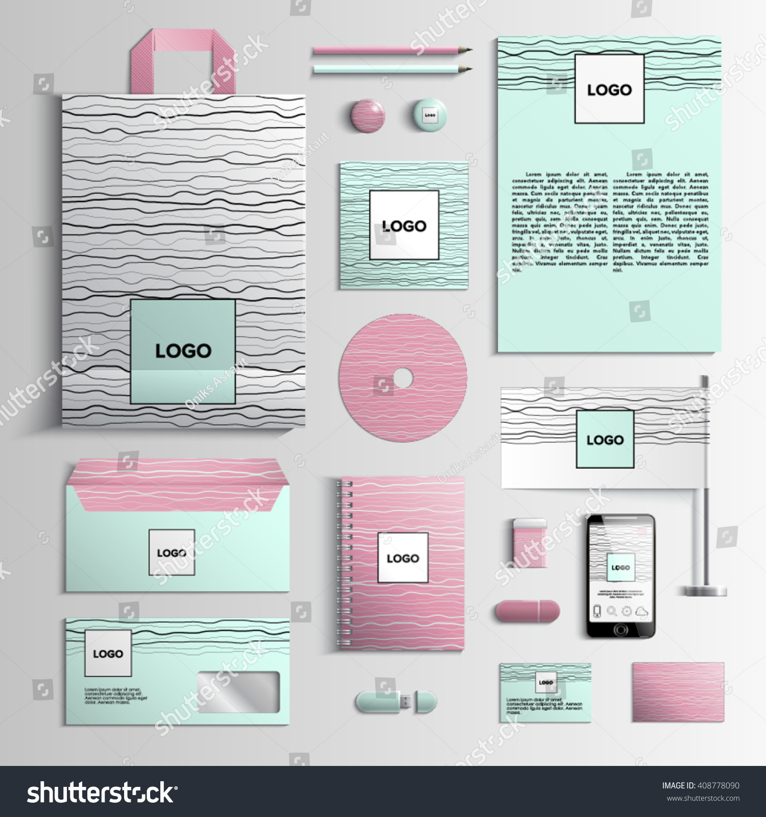Corporate Identity Template Pink Green Colors Stock Vector Royalty