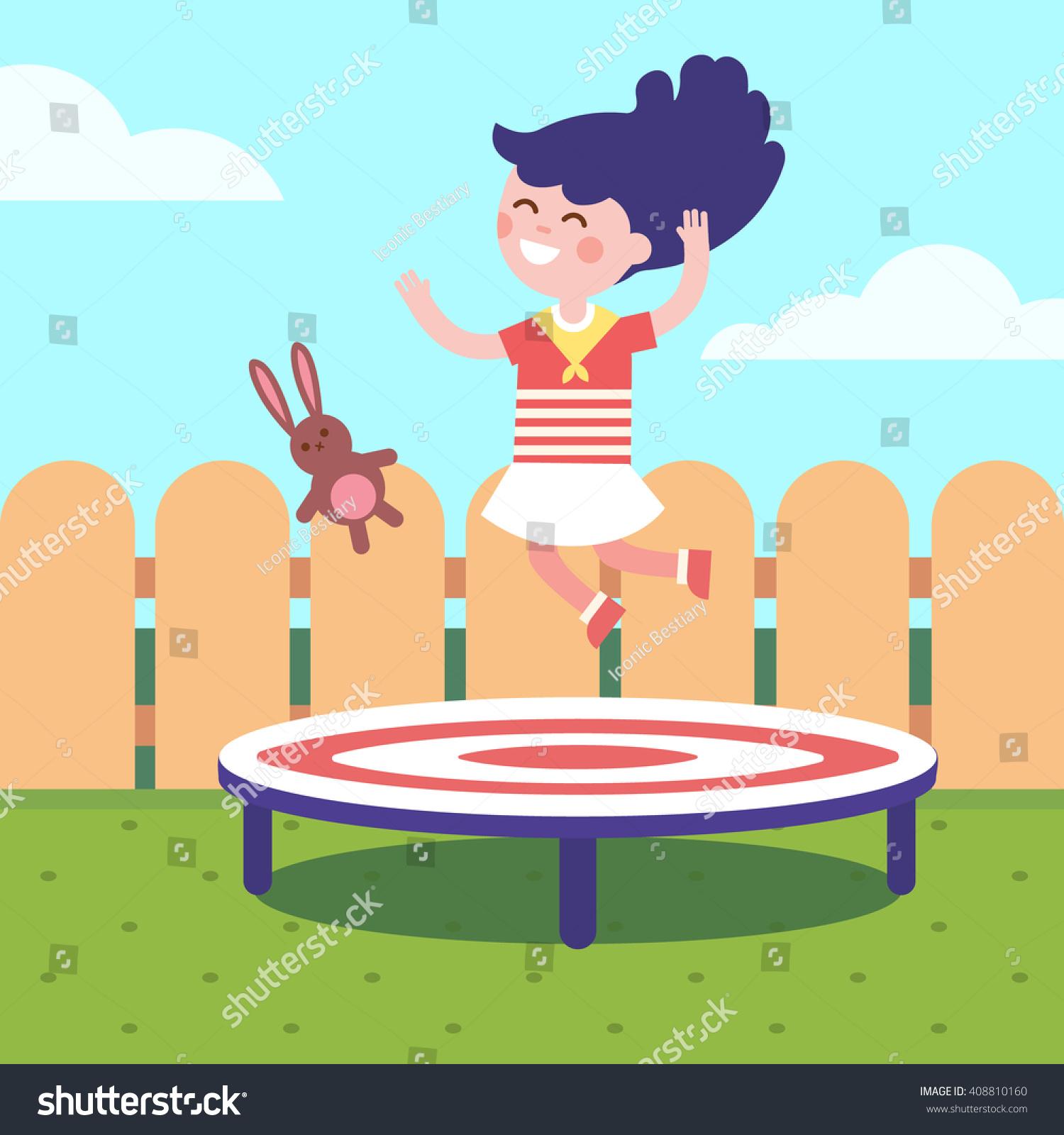 jumping on trampoline backyard childhood stock vector